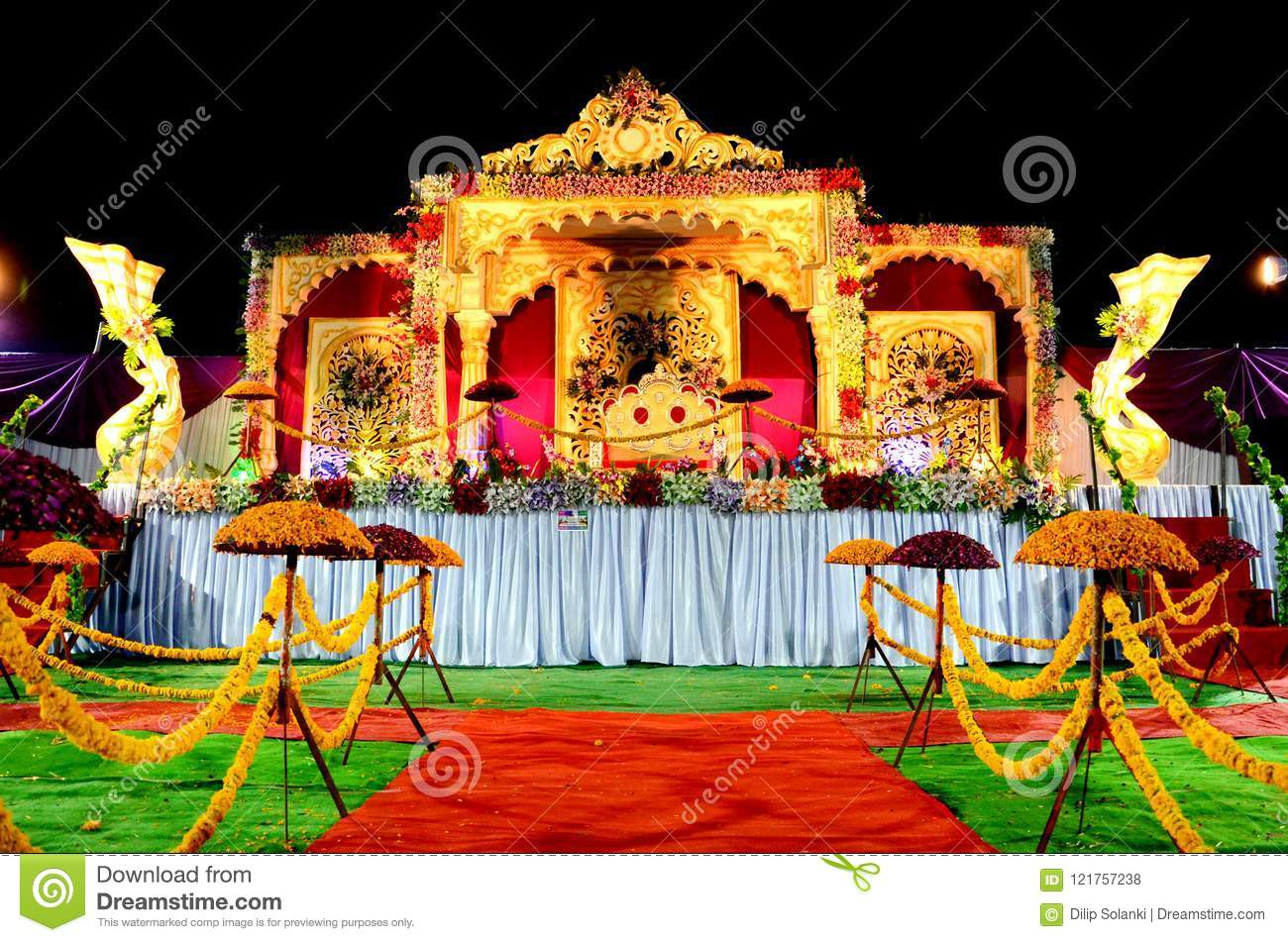 Wedding Reception Stage Decoration With Golden Chair Stock Photo