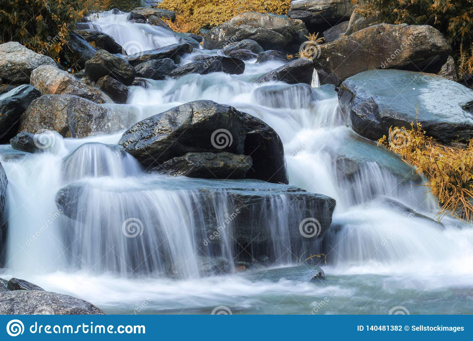 Beautiful Deep Forest Waterfall View
