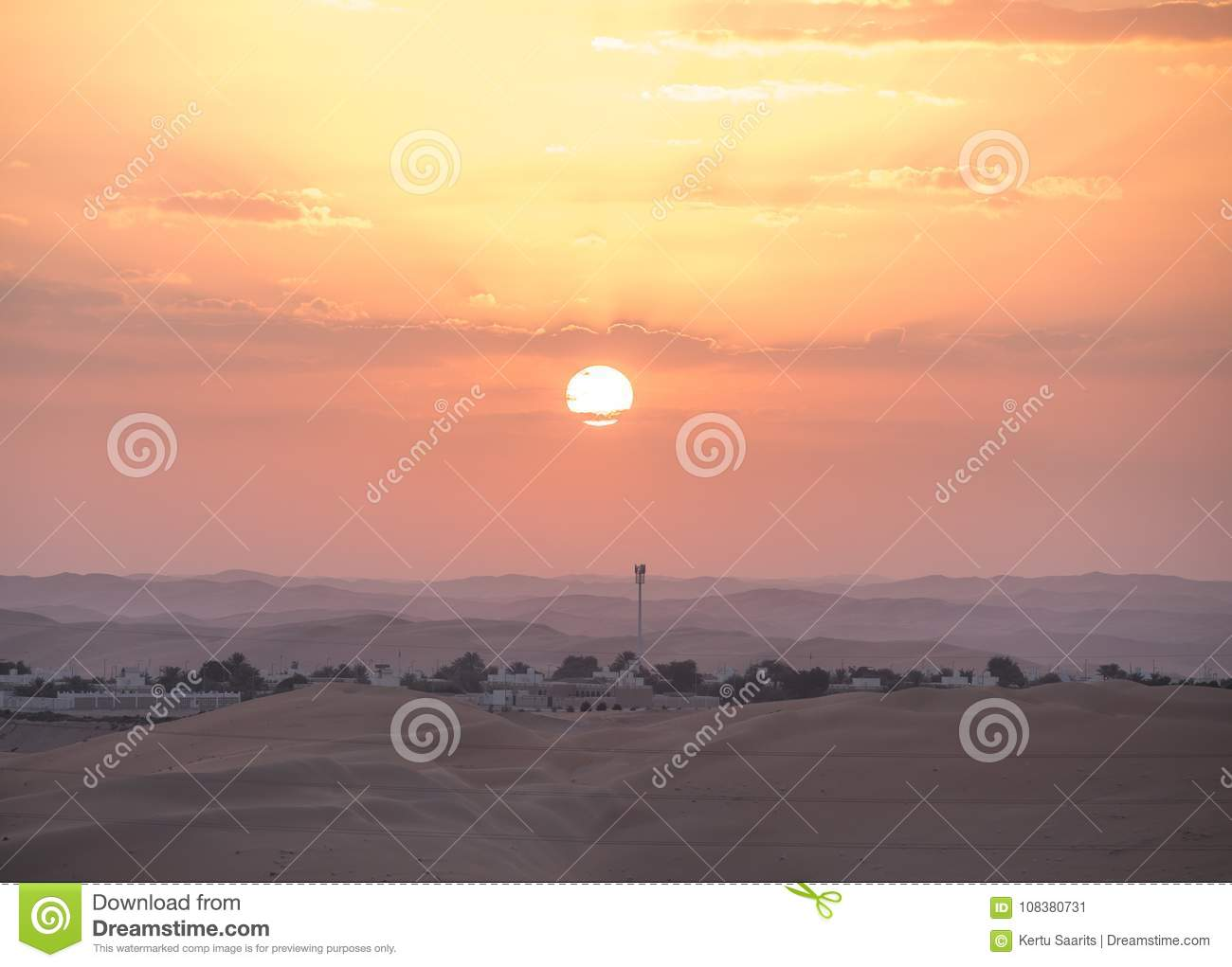 Beautiful Desert Sunrise Over A Beduin Village  Stock Image - Image