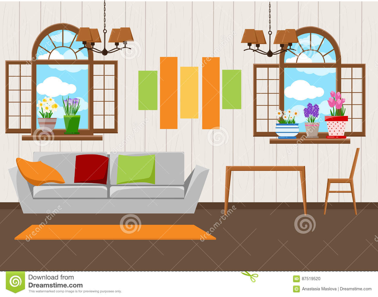 Beautiful design elements vector illustration of living room furniture in mid century modern style