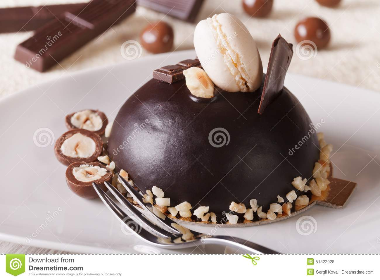 Beautiful Dessert Chocolate Cake With Nuts Horizontal Stock Photo
