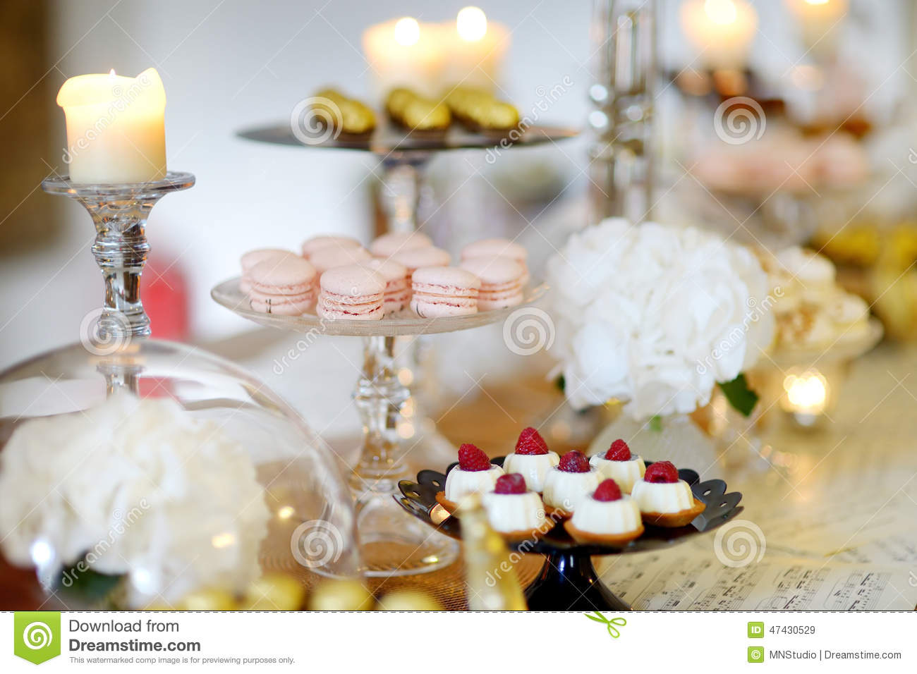 Beautiful Desserts Sweets And Candy Table Stock Photo