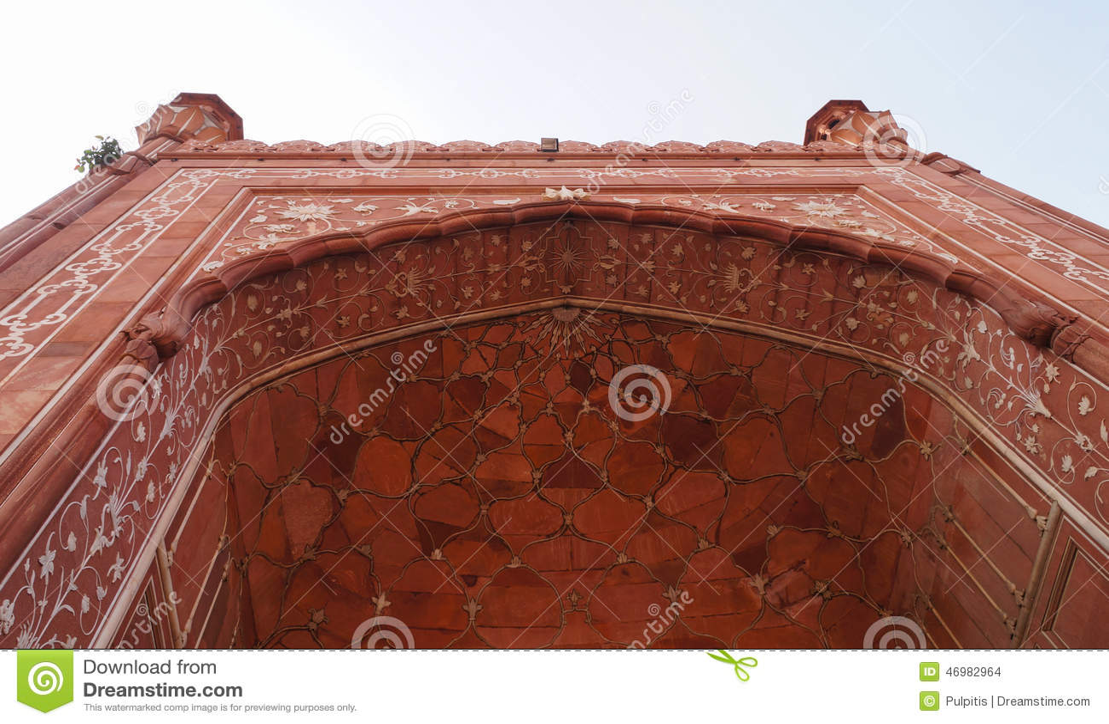 Mosque Detail: Beautiful Detail Of Badshahi Mosque In Lahore,Pakistan