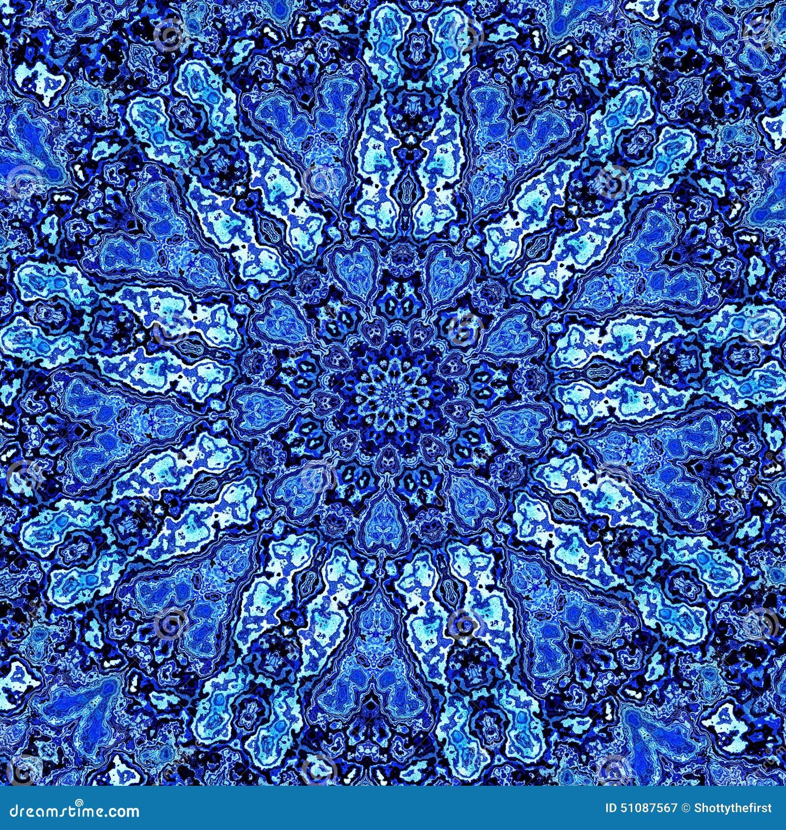 Beautiful Detailed Blue Mandala Fractal. Abstract Background Pattern. Decorative Modern Artwork. Creative Ornate Image. Element.