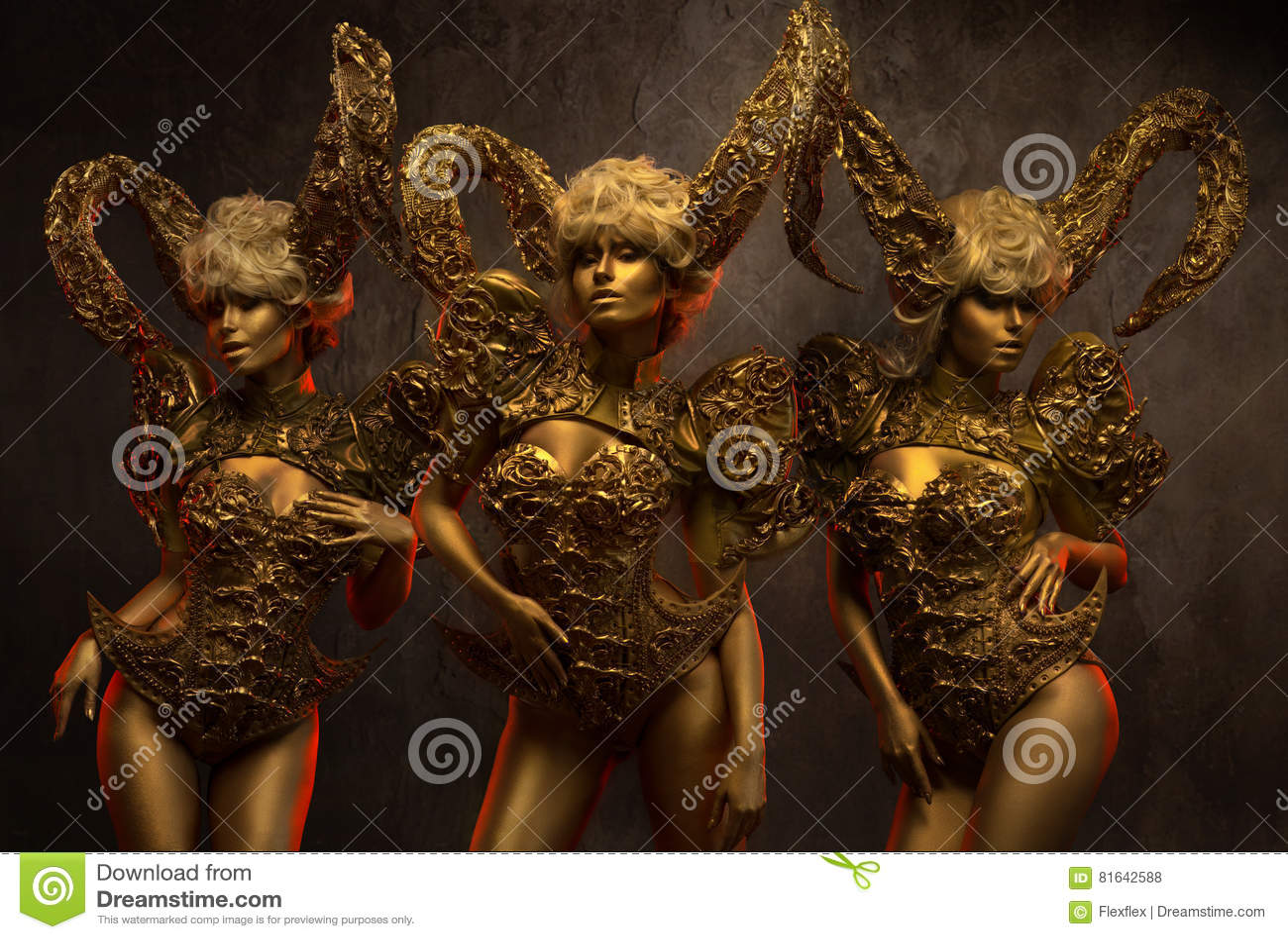 Beautiful devil women with golden ornamental horns