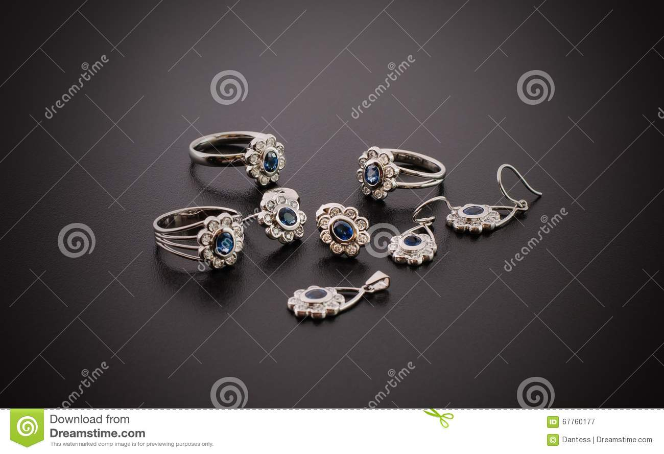 Beautiful Diamond Jewelry Isolated On Black Background Stock Image ...