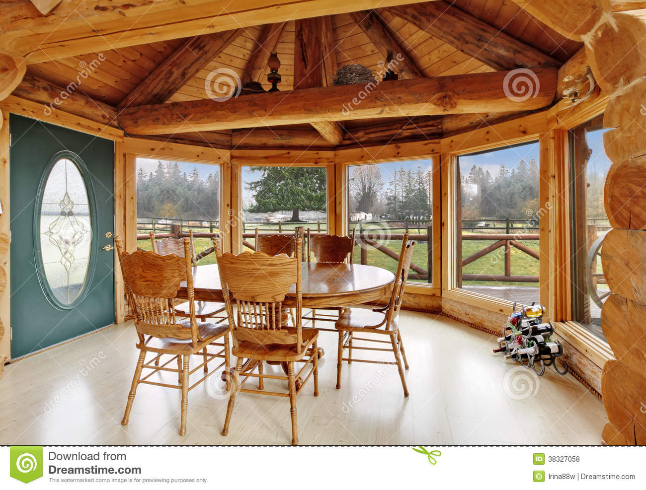 Beautiful Dining Room In Log Cabin House Royalty Free Stock Photos - Image: 38327058
