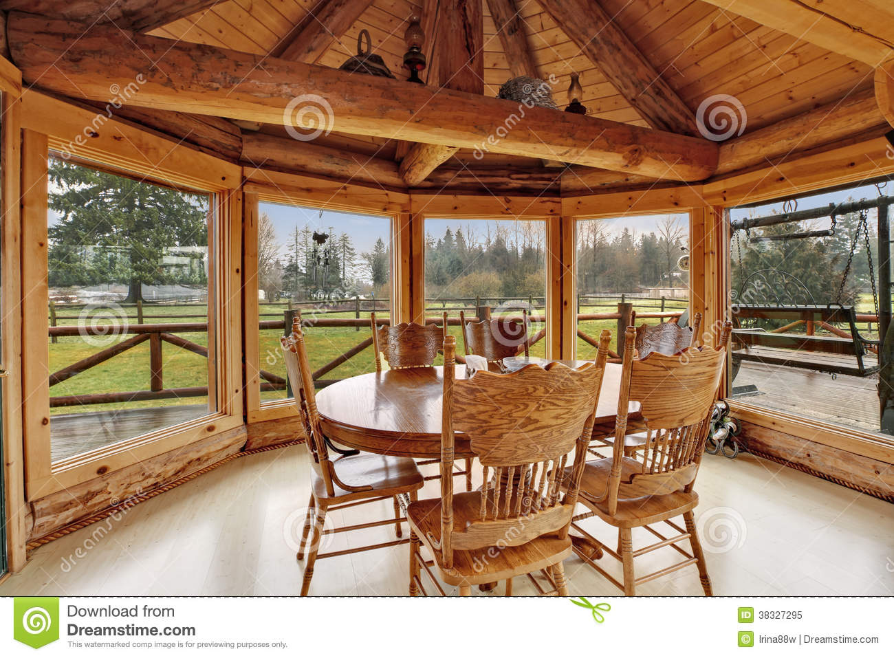 Beautiful Dining Room In Log Cabin House Royalty Free