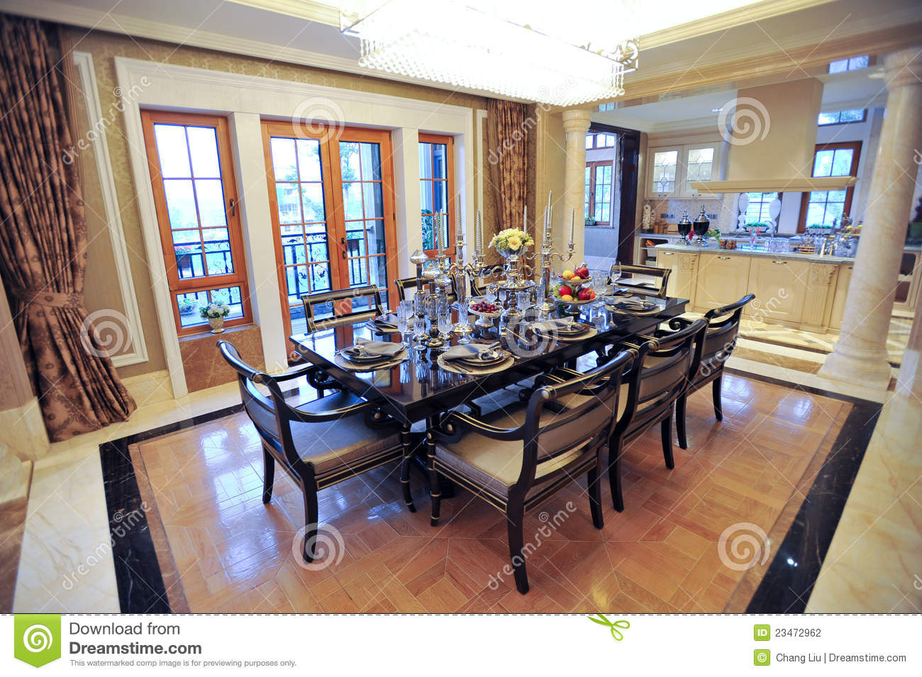 Beautiful Dining Room In A Mansion Stock Photo Image