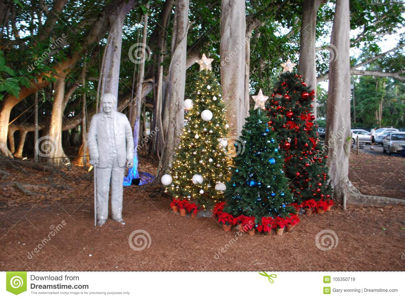 download statue of thomas edison and christmas decorations editorial stock image image of nature
