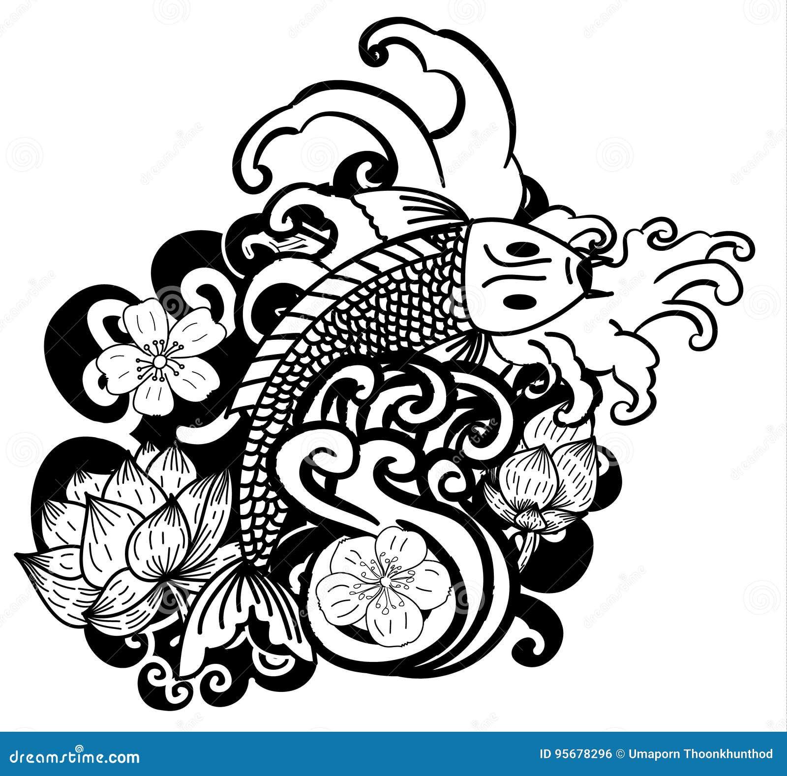 Beautiful Doodle Art Koi Carp Tattoo Design Stock Vector