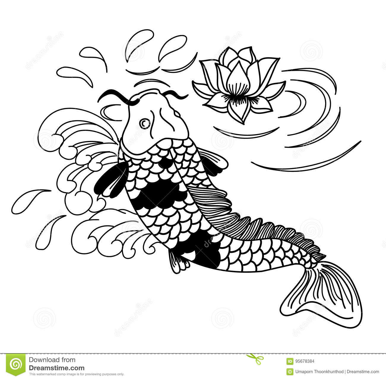 Beautiful Doodle Art Koi Carp Tattoo Design Stock Vector