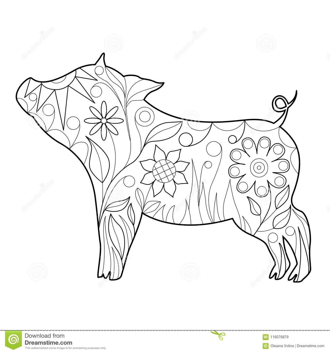 Year of the pig 2019 coloring pages ~ Beautiful Doodle Symbol Of The Year 2019 Pig For Coloring ...
