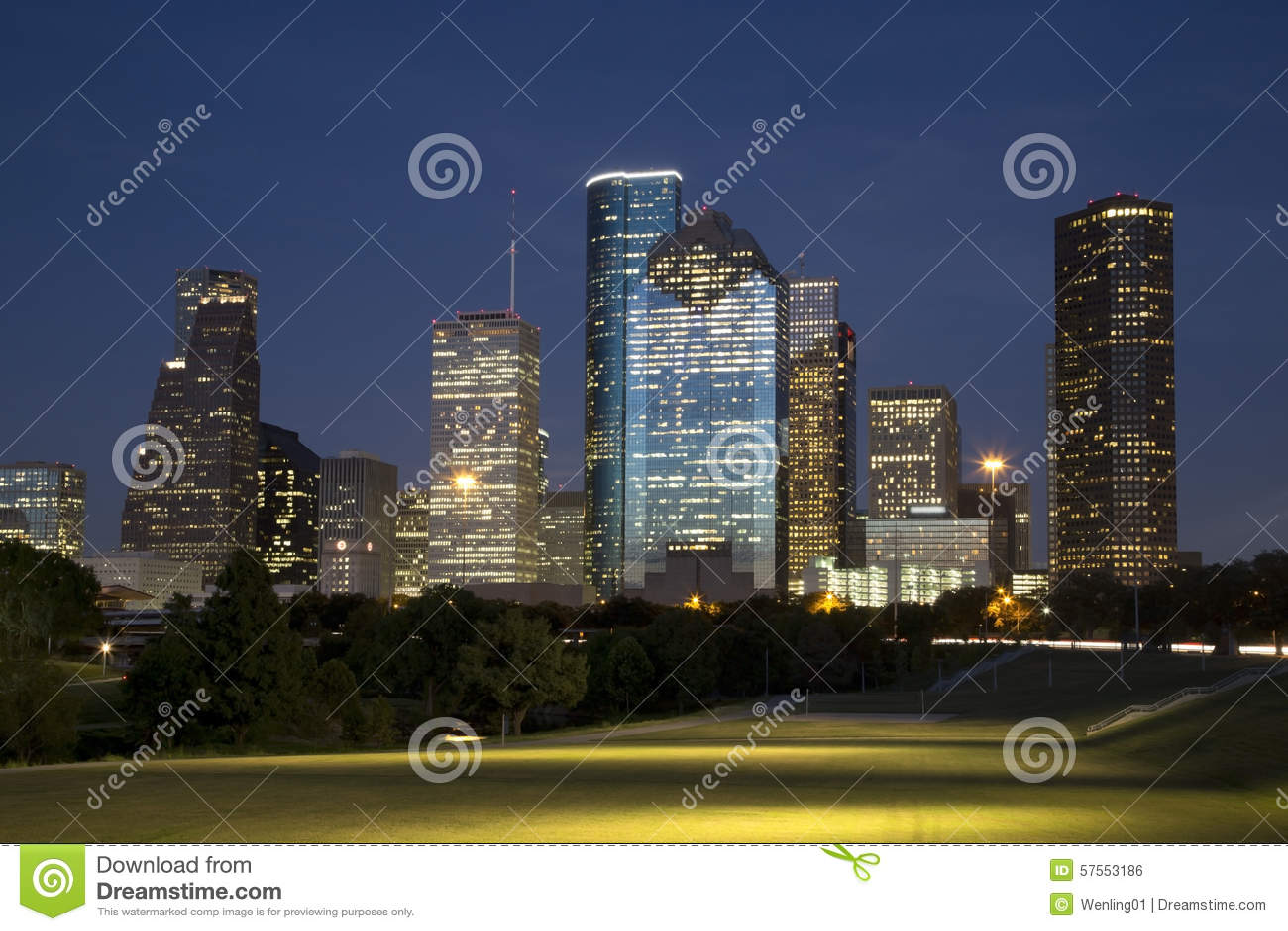 Beautiful downtown Houston night