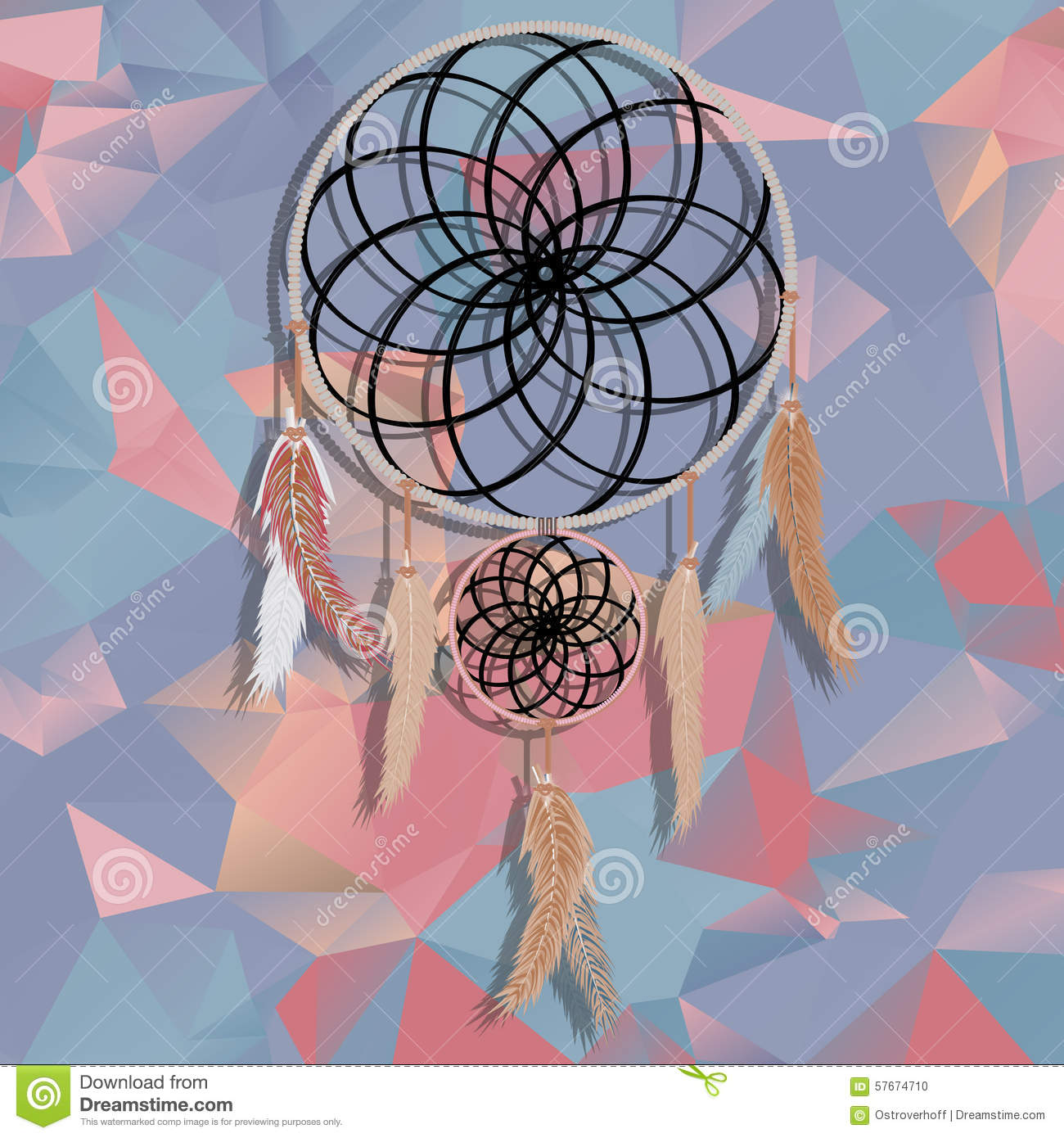 Beautiful dream catcher on polygonal background