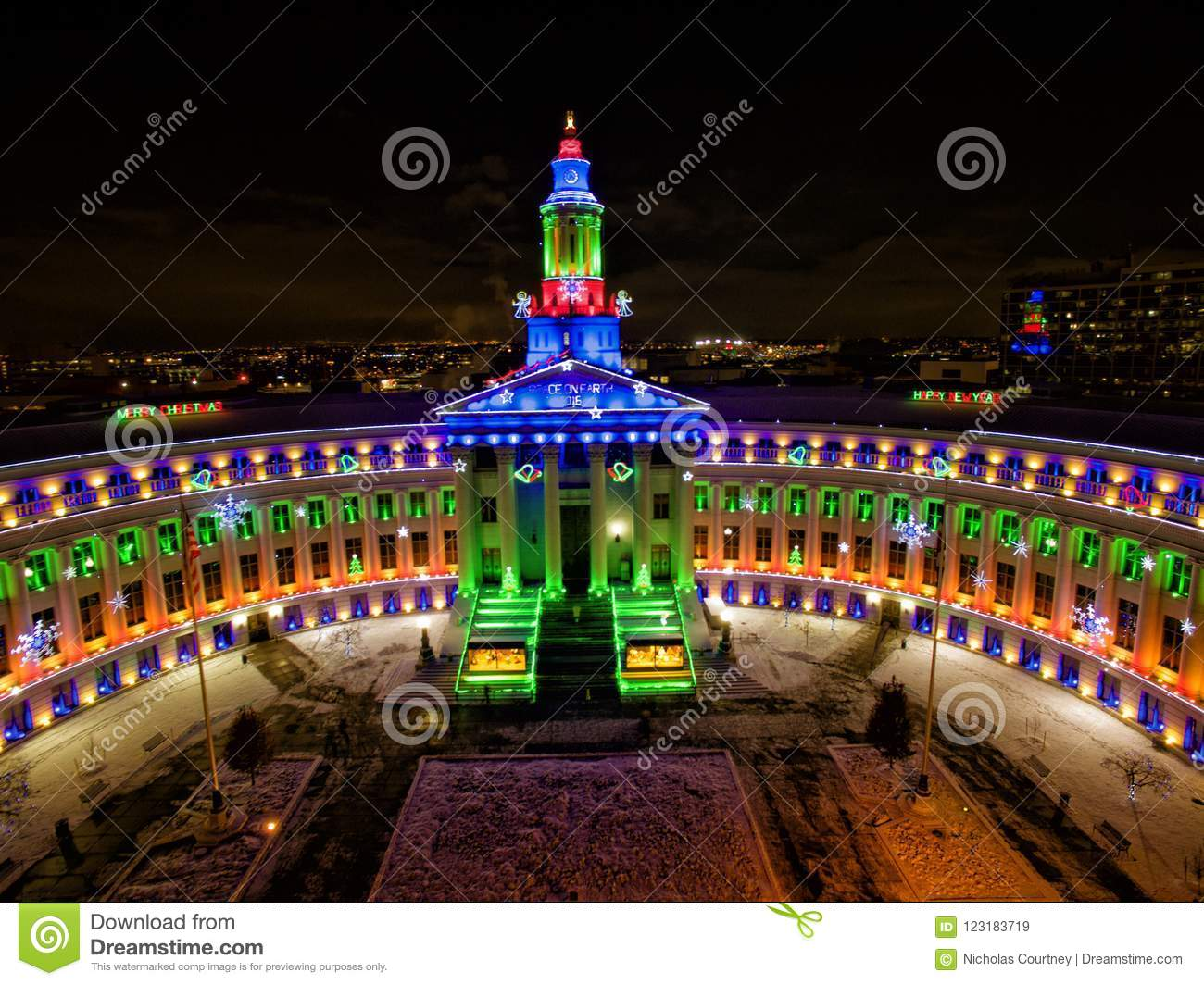 Download Aerial Drone Photo   Christmas Lights On City Hall, Denver  Colorado Editorial Stock Image