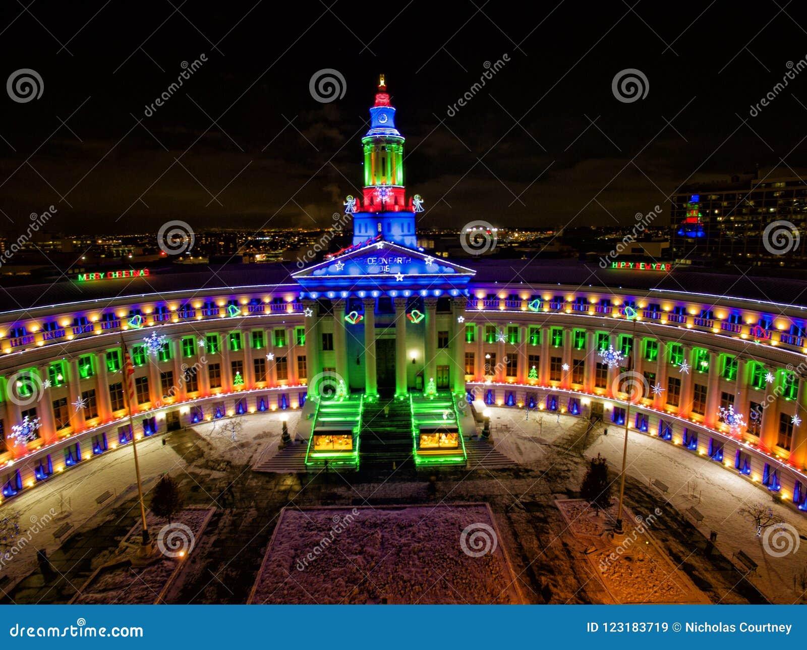 Christmas In Denver Colorado.Aerial Drone Photo Christmas Lights On City Hall Denver