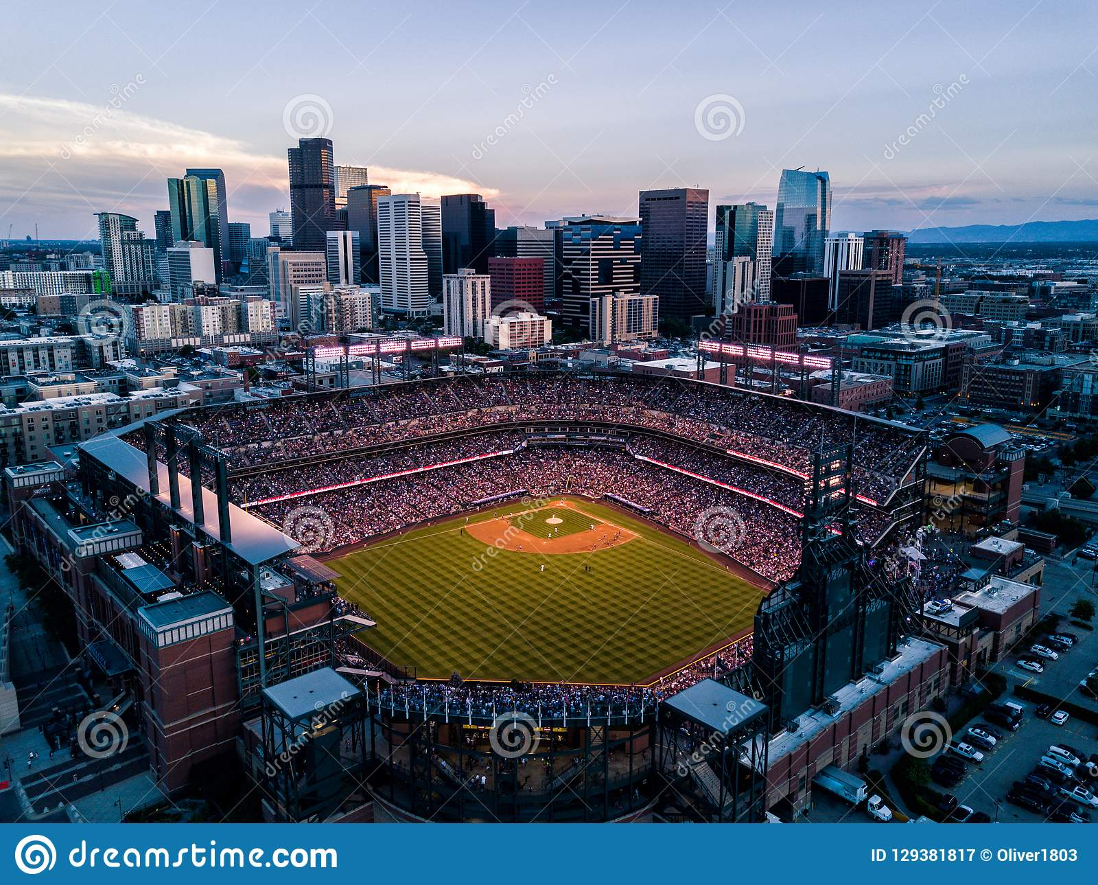 Beautiful drone photo of Denver Colorado at sunset