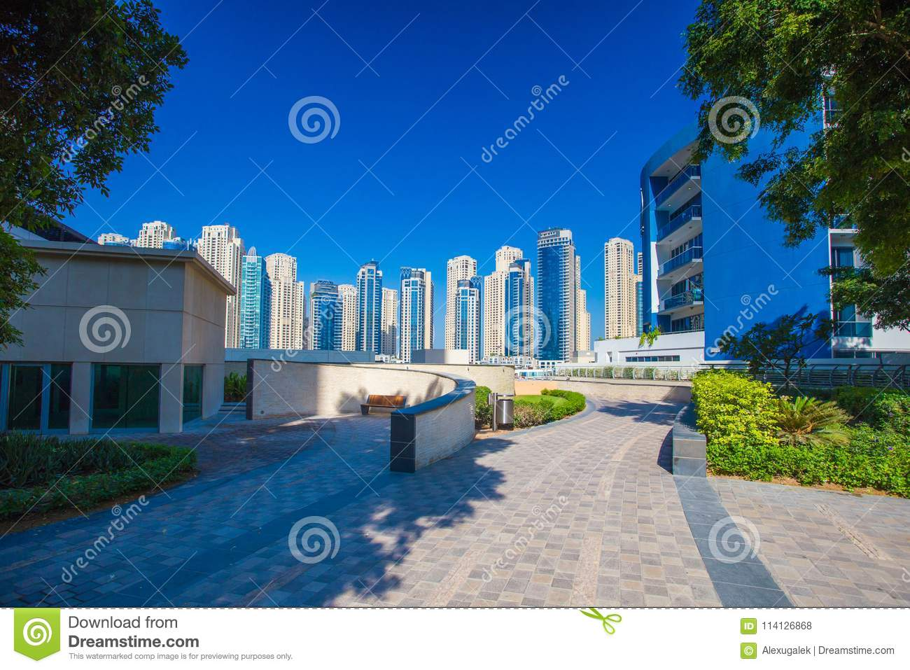 Beautiful Dubai District Modern Architecture Of Uae Stock Photo