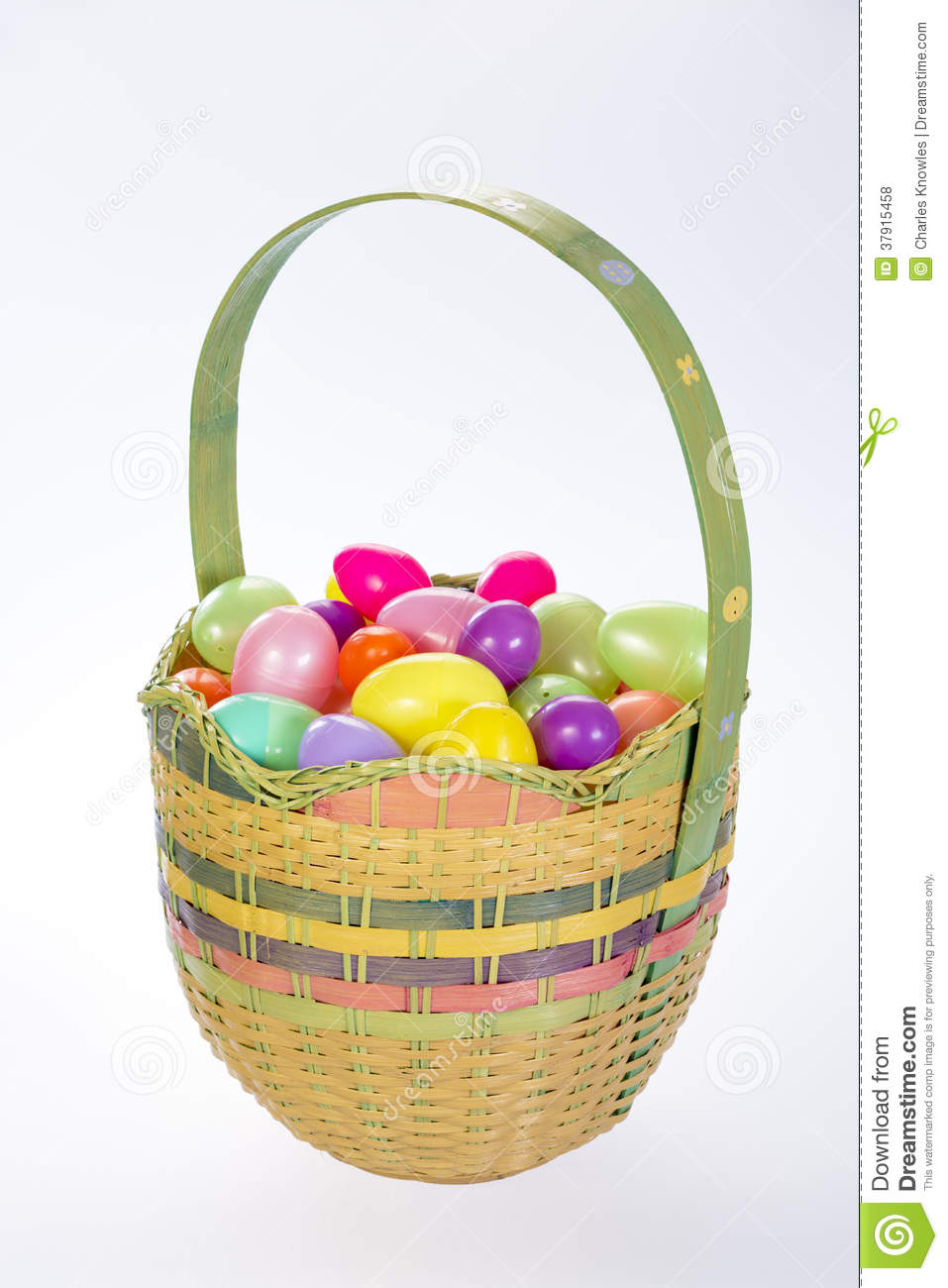 Beautiful Easter Basket With Plastic Eggs Royalty Free Stock Photos In