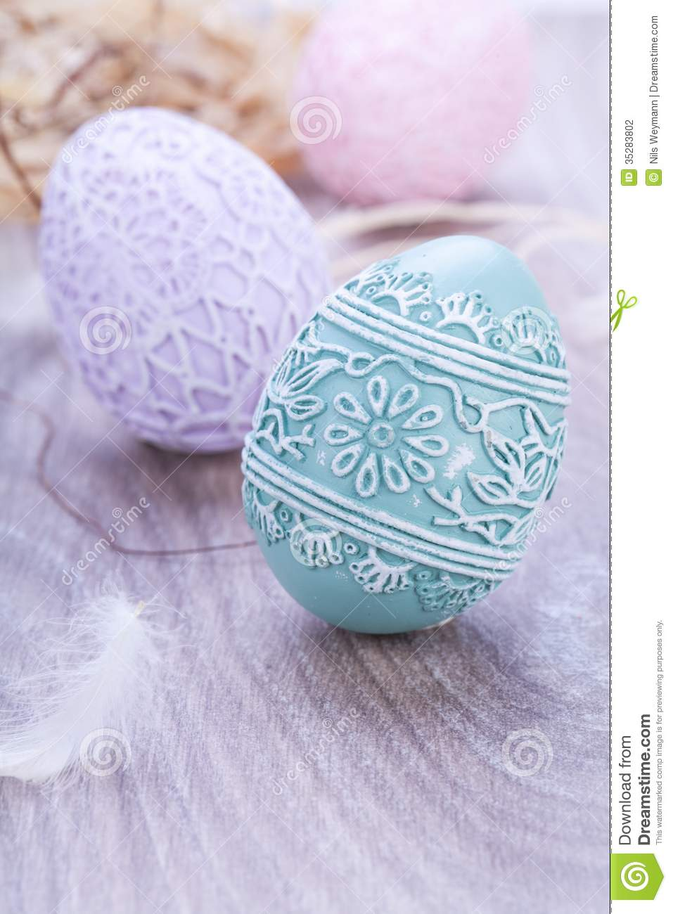 Beautiful Easter Egg Decoration Colorfull Eggs Seasonal Pastel Stock ... Blue Easter Eggs