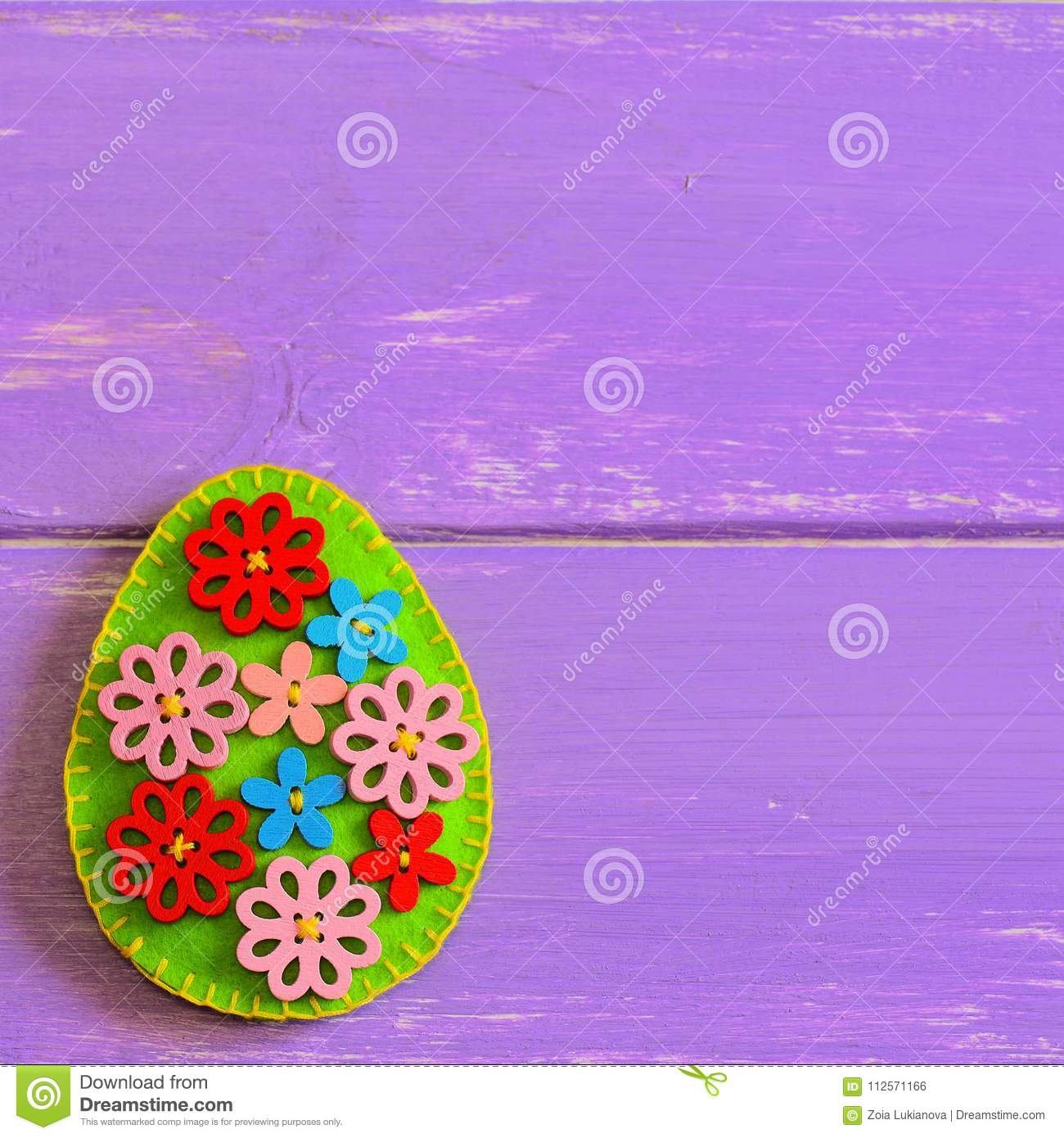 Beautiful Easter Egg With Wooden Flower Buttons Felt Easter Egg