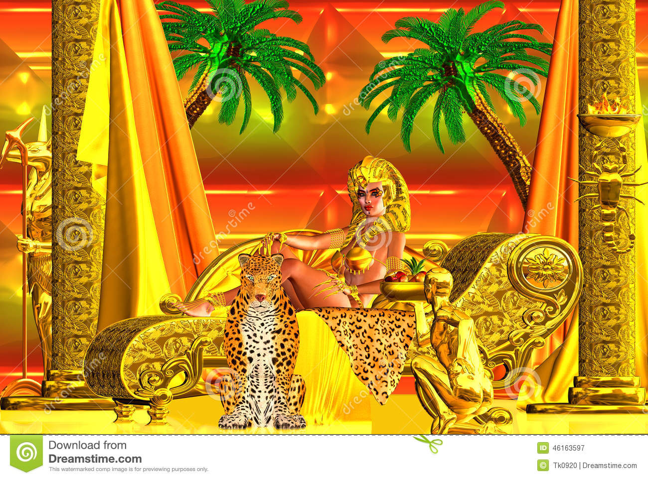 A Beautiful Egyptian Goddess Lying Down A Chaise Lounge Stock Illustration Image