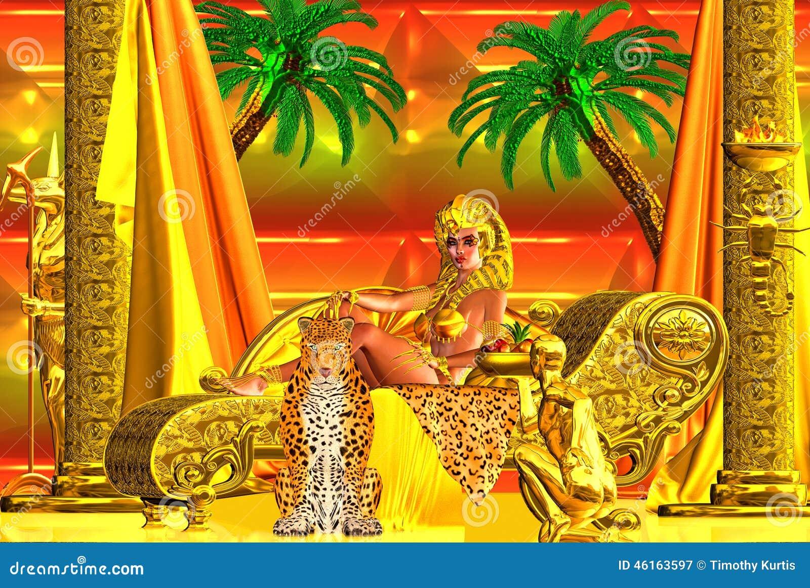A Beautiful Egyptian Goddess Lying Down A Chaise Lounge Stock Illustration Image