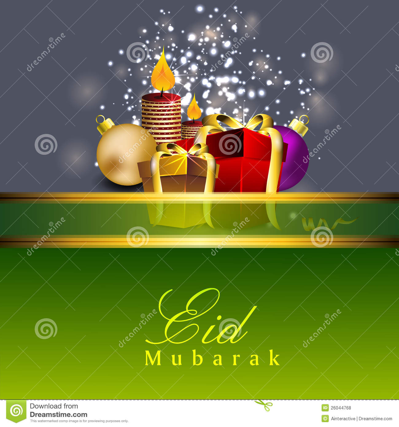 Beautiful Eid Mubarak Greeting Card Stock Vector Illustration Of