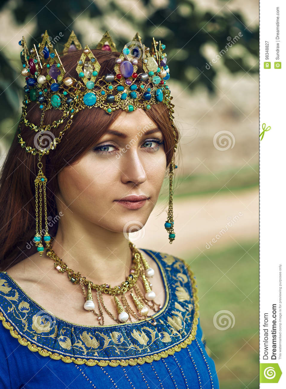 Beautiful Eleanor of Aquitaine, duchess and queen of England and France on High Middle Ages.