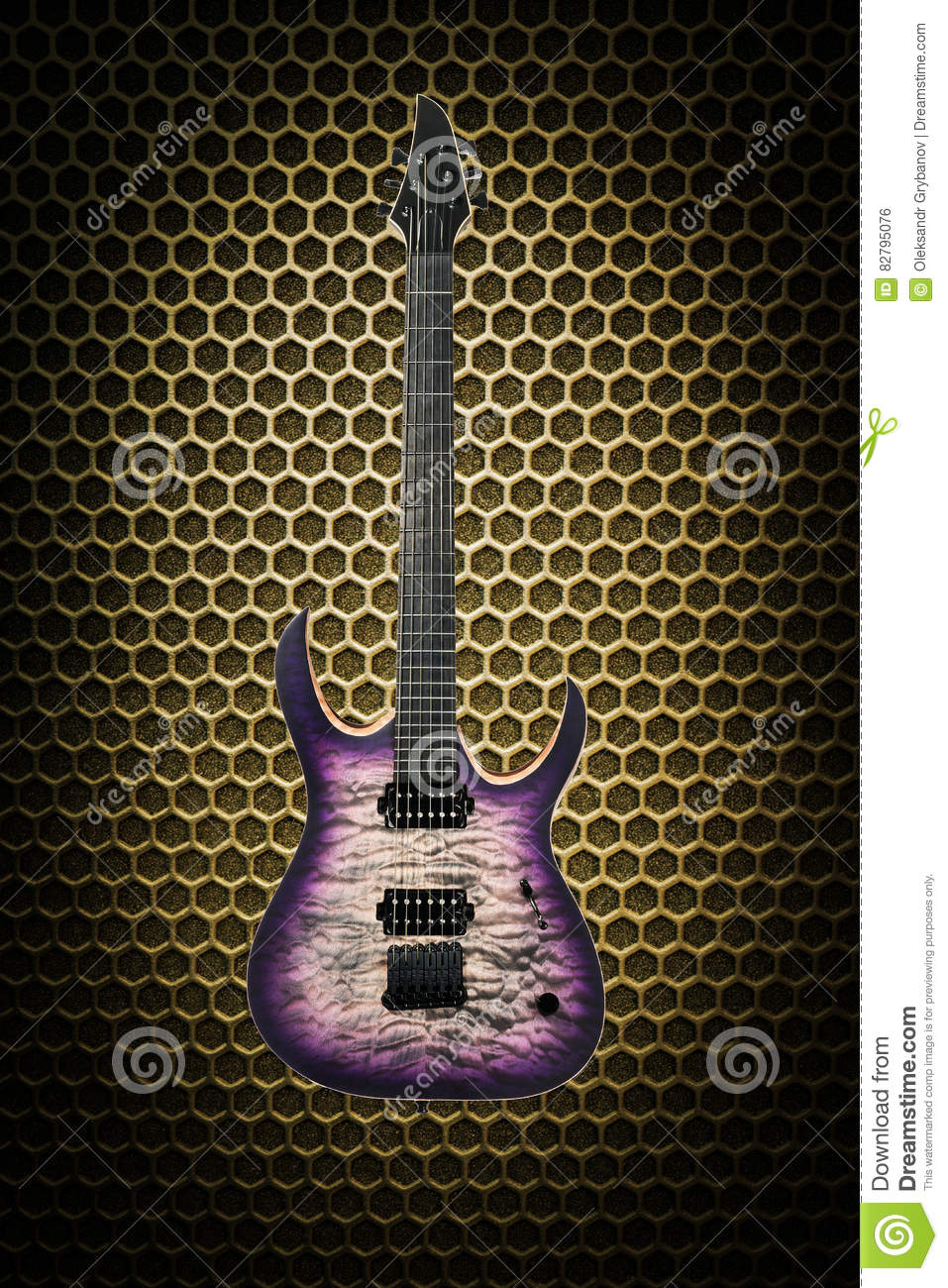 Beautiful Electric Guitar On Techno Background Stock Photo