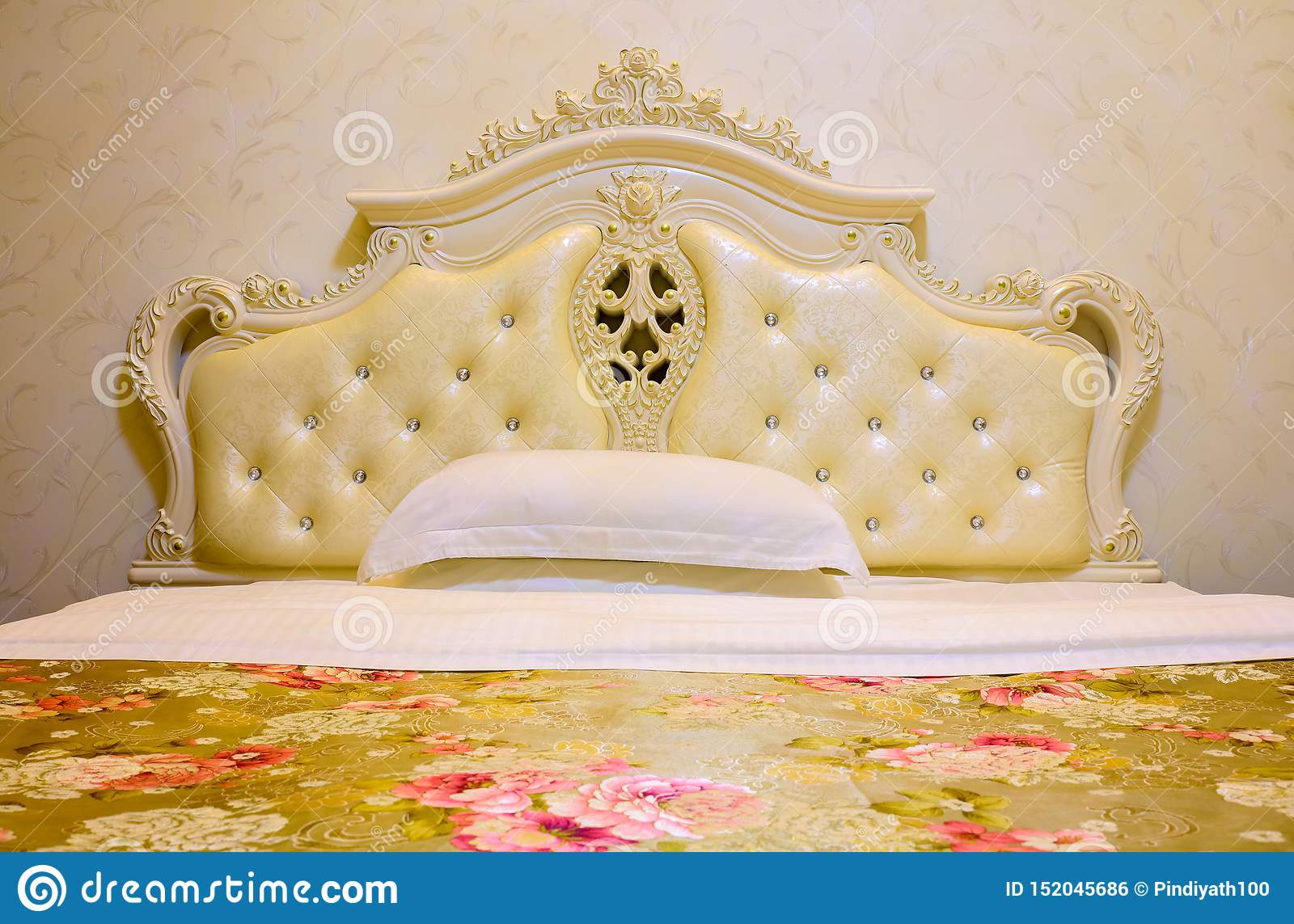 Beautiful And Elegant Bedroom With Wooden Bed Frame And Bed Stock Photo Image Of Retro Luxury 152045686