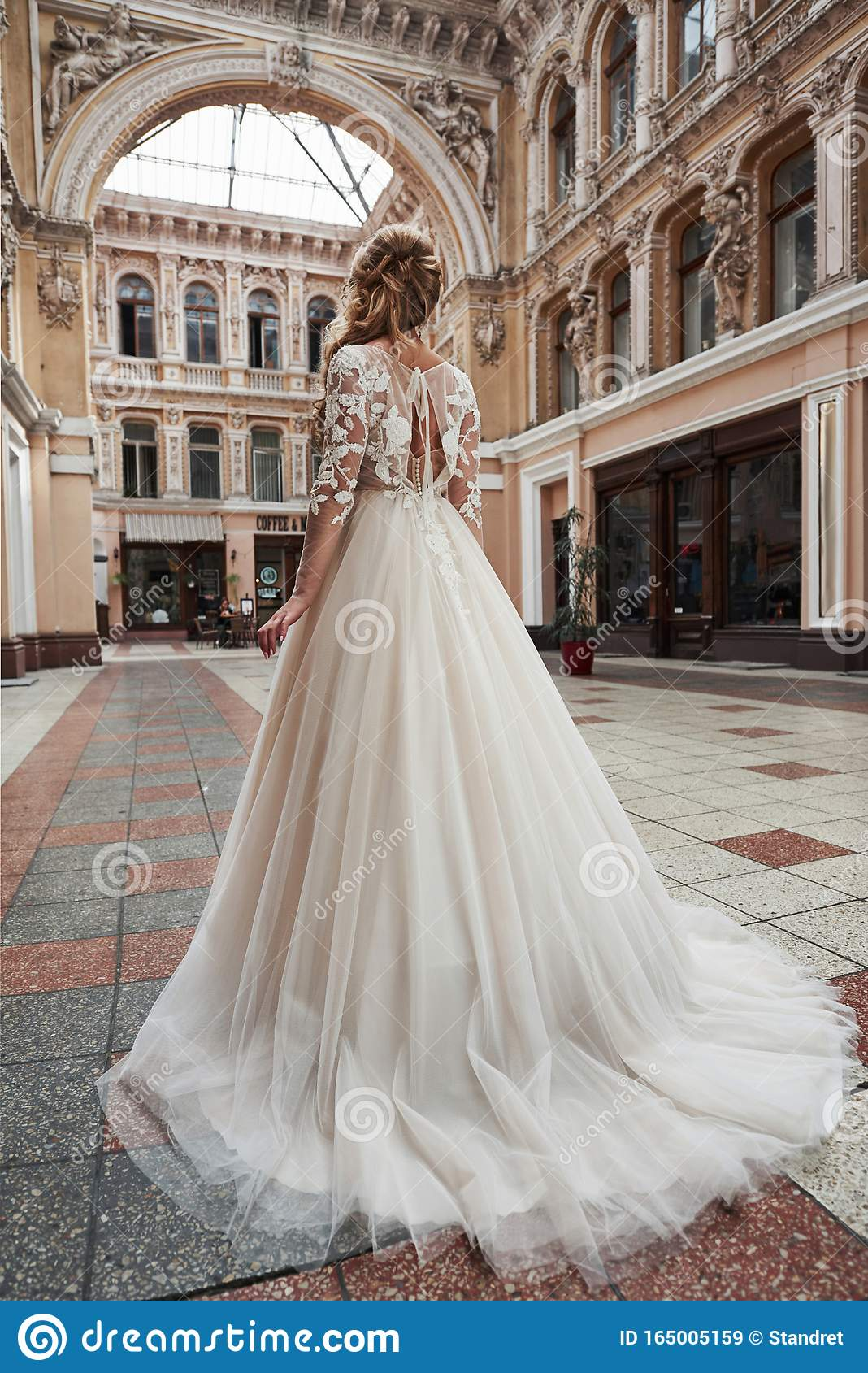 Beautiful Elegant Bride With A Perfect Wedding Dress Poses Around Beautiful Architecture Stock Image Image Of Castle Fashion 165005159