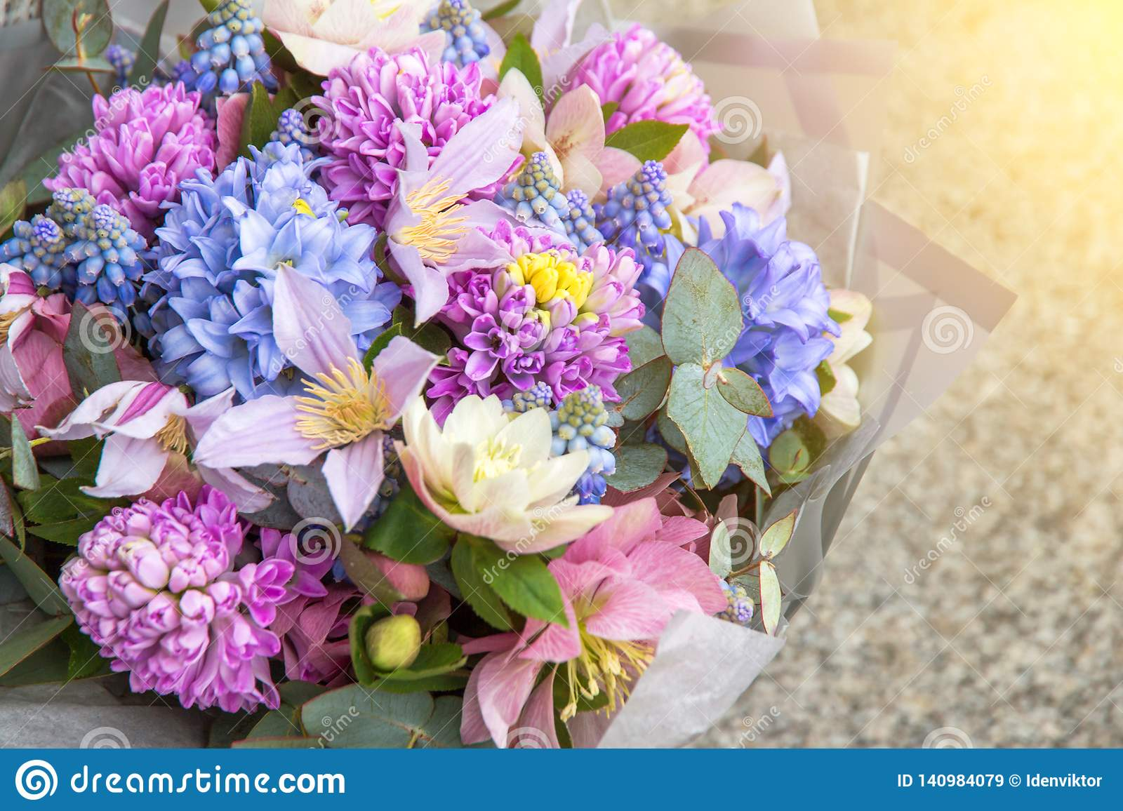 Beautiful Elegant Designer Pink Purple Blue Bouquet Of Florist With Different Flowers Close Up Floral Background Stock Image Image Of Beauty Exquisite 140984079