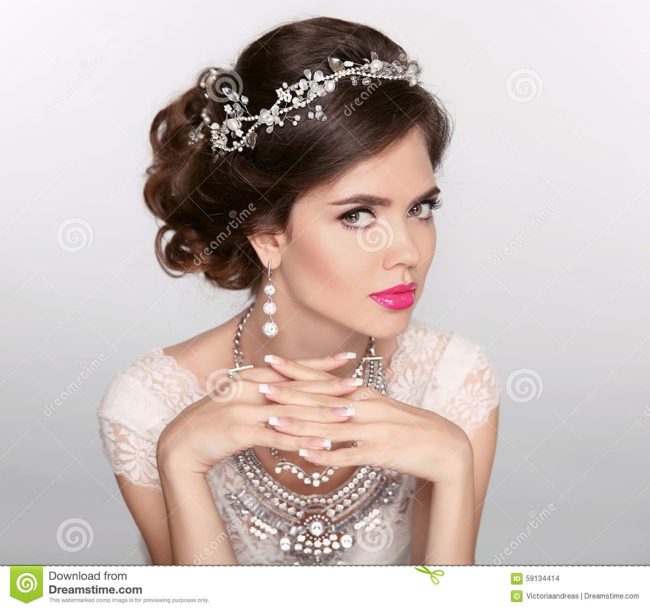 Beautiful Elegant Girl Model With Jewelry Makeup And Retro Hair Styling Manicured Nails Stock