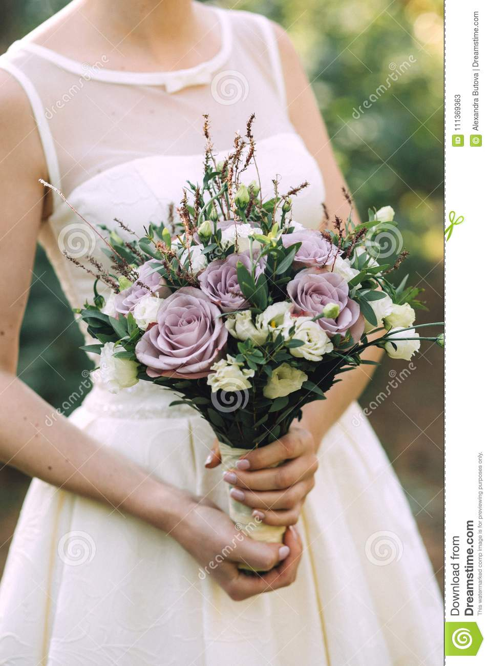 Beautiful Elegant Summer Wedding Bouquet Of Lilac Roses And