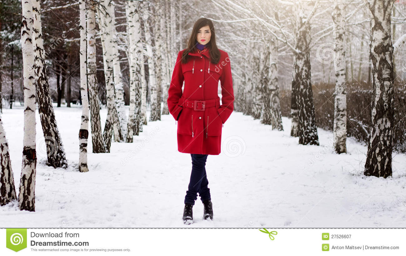 Beautiful Elegant Woman In Red Coat Royalty Free Stock Photography ...
