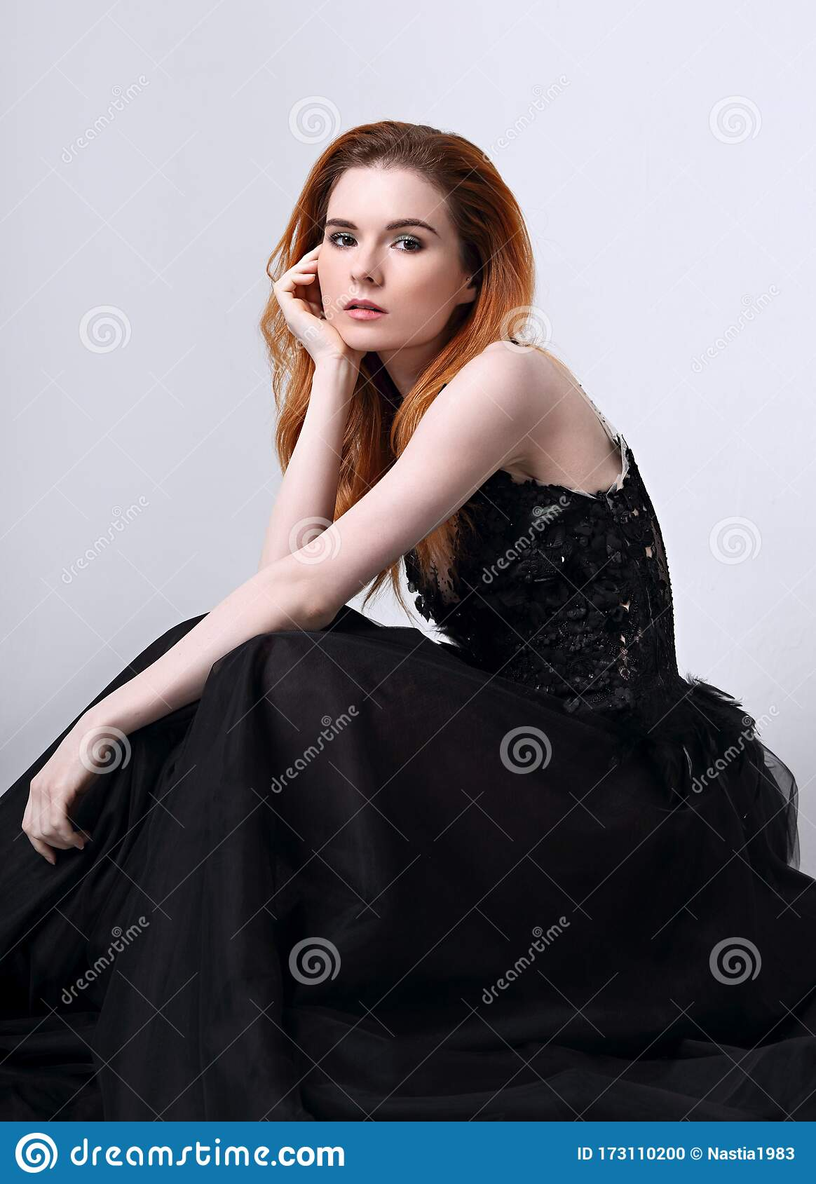 Beautiful Elegant Young Model With Bright Redhead Hairstyle