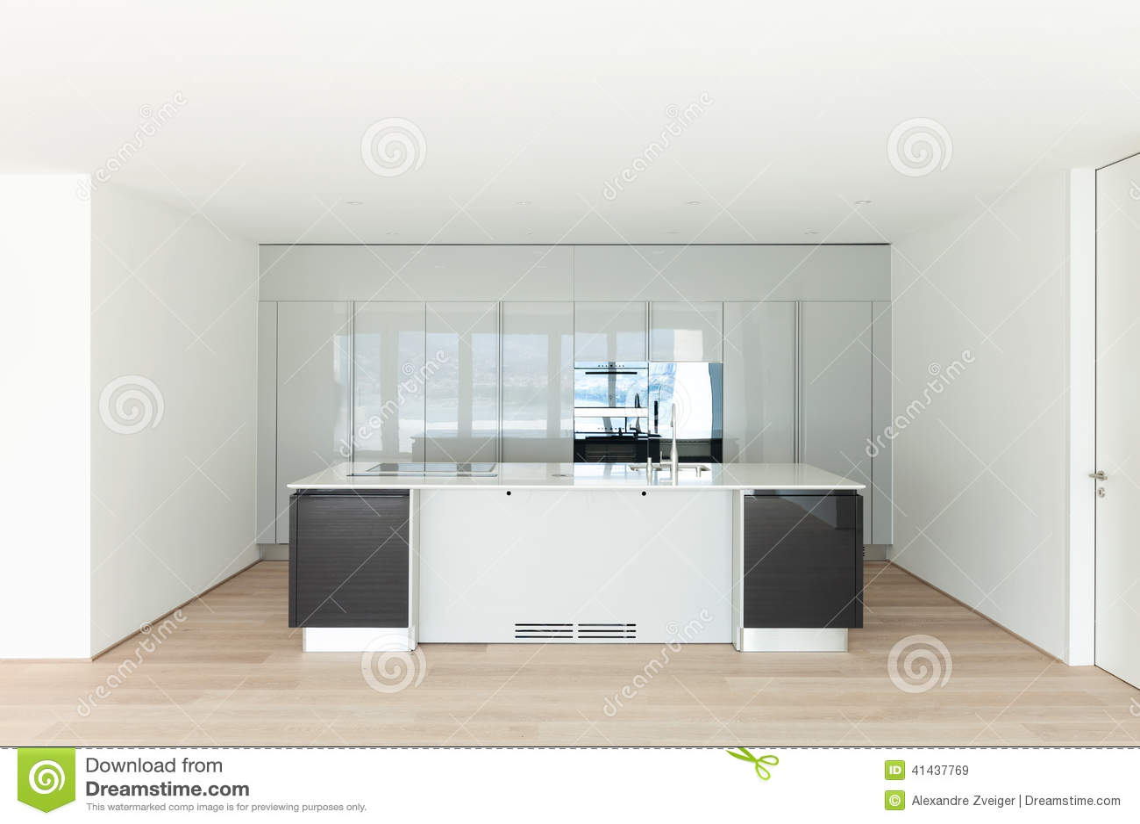 Empty Kitchen Wall Beautiful Empty Apartment Modern Kitchen Stock Photo Image
