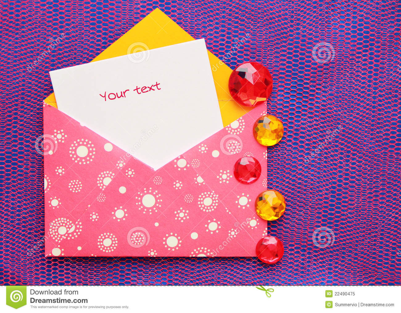 beautiful envelope with a note stock image  image of