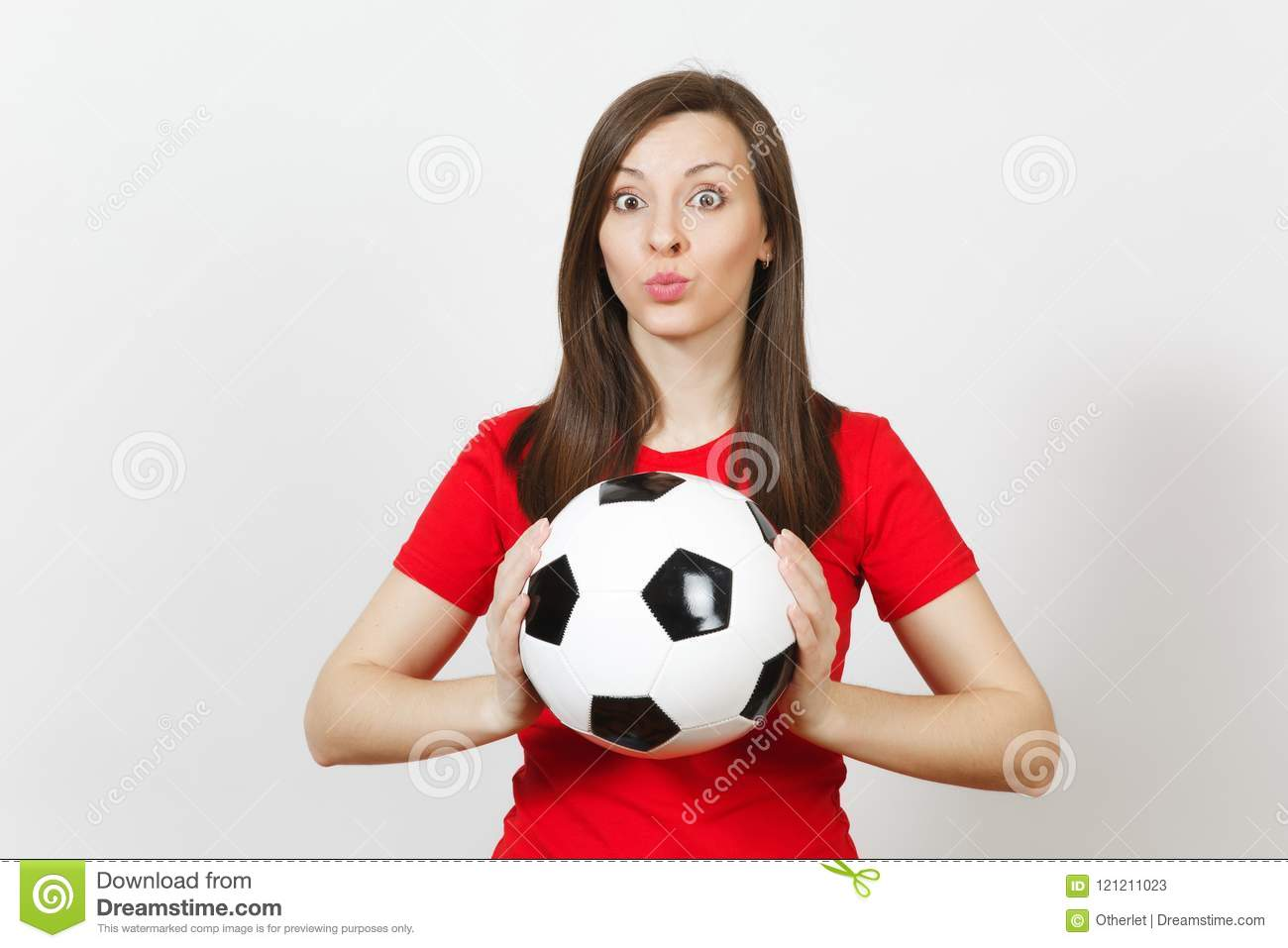 Beautiful European young people, football fan or player on white background. Sport, play, health, healthy lifestyle concept.