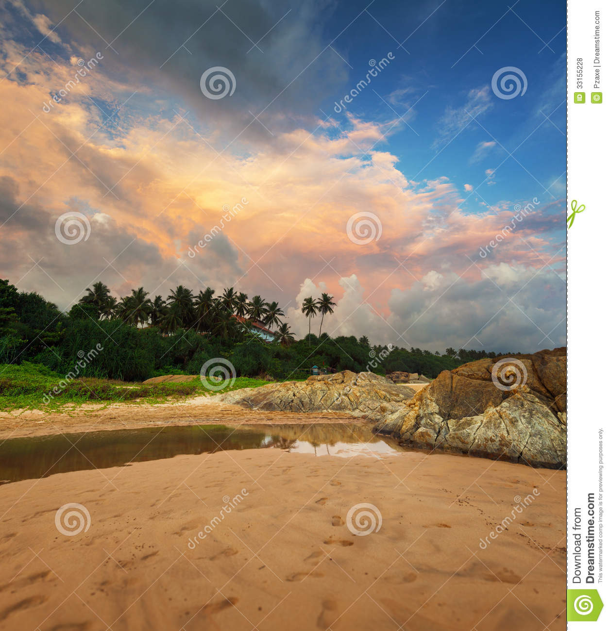 Beautiful Sunny Day At Tropical Beach Royalty Free Stock: Beautiful Evening Sky Over A Tropical Beach. Sri Lanka