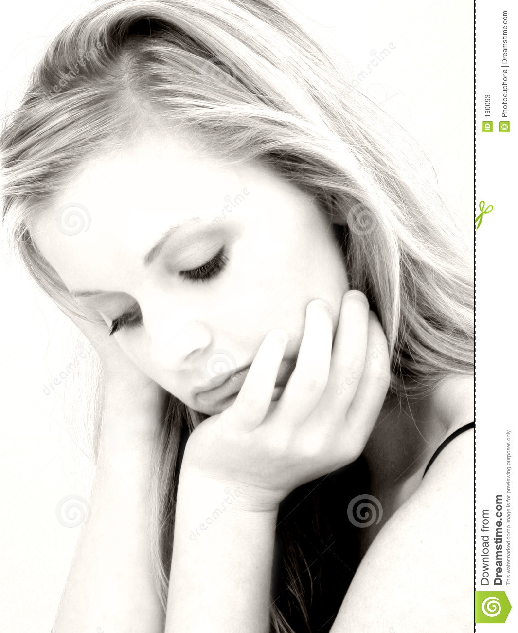 Beautiful expression sad woman young