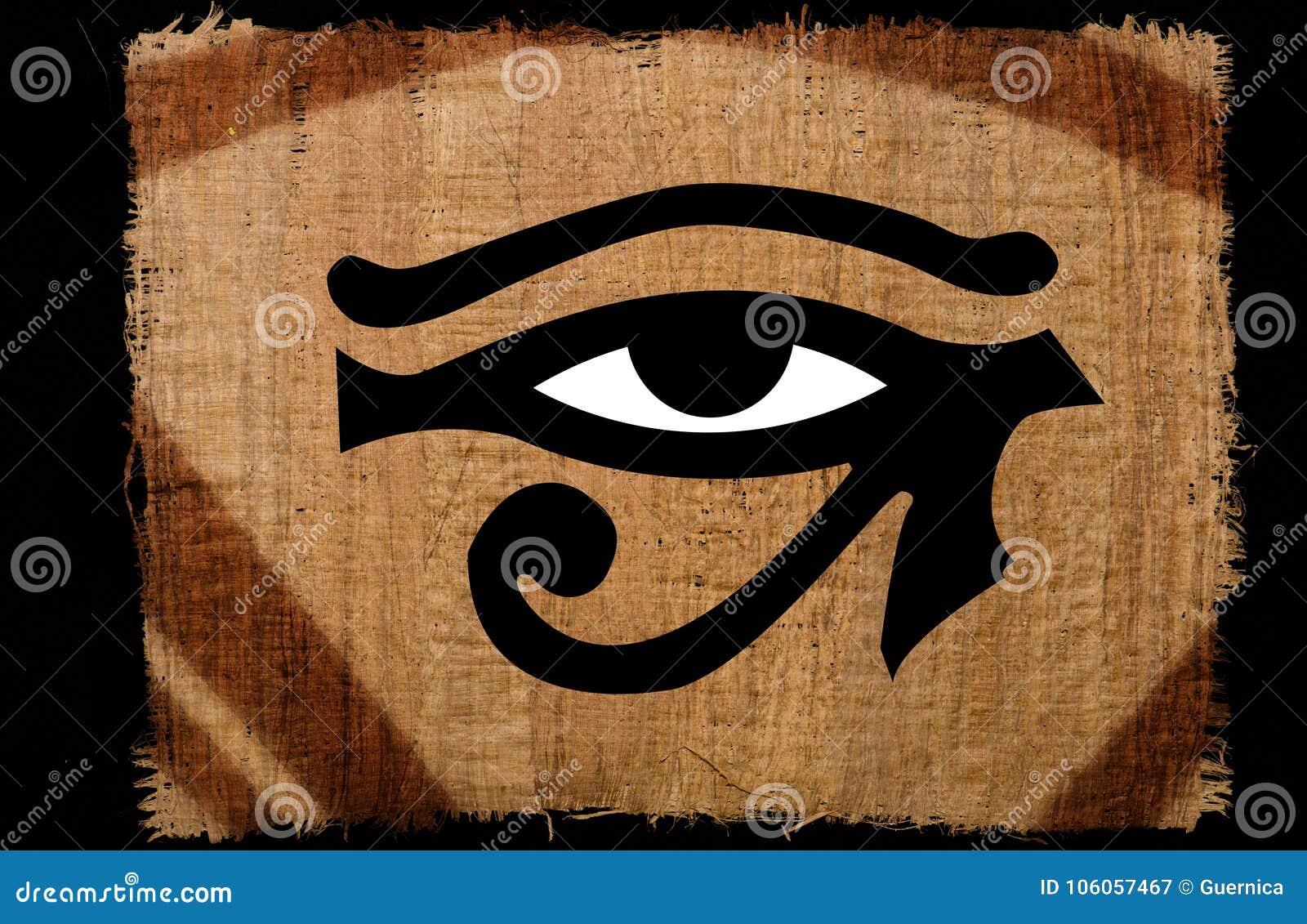 Beautiful Eye of horus vintage on papyrus