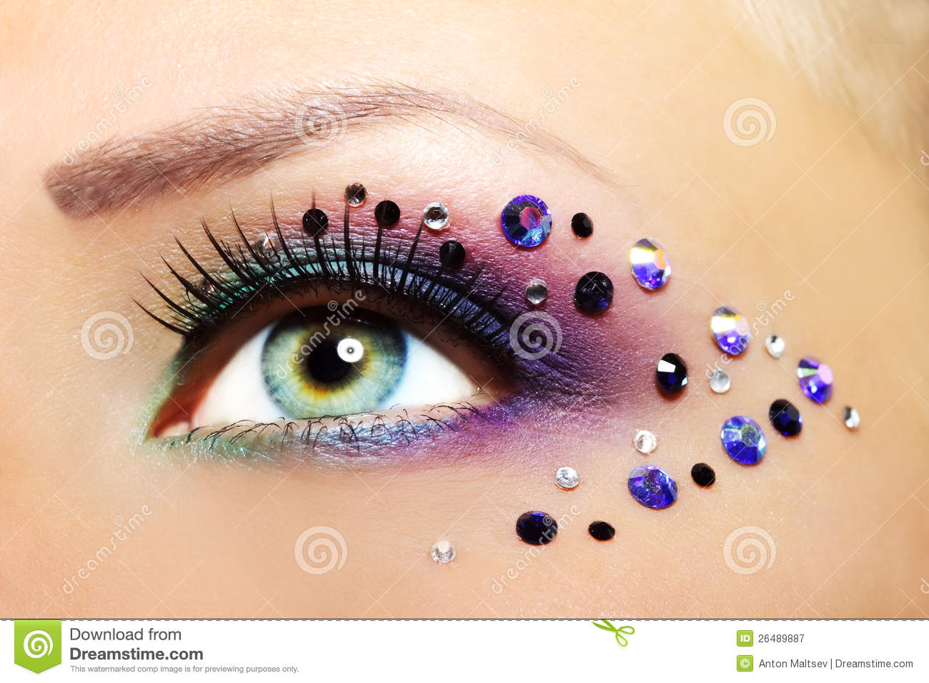 beautiful eye makeup stock image. image of close, dark