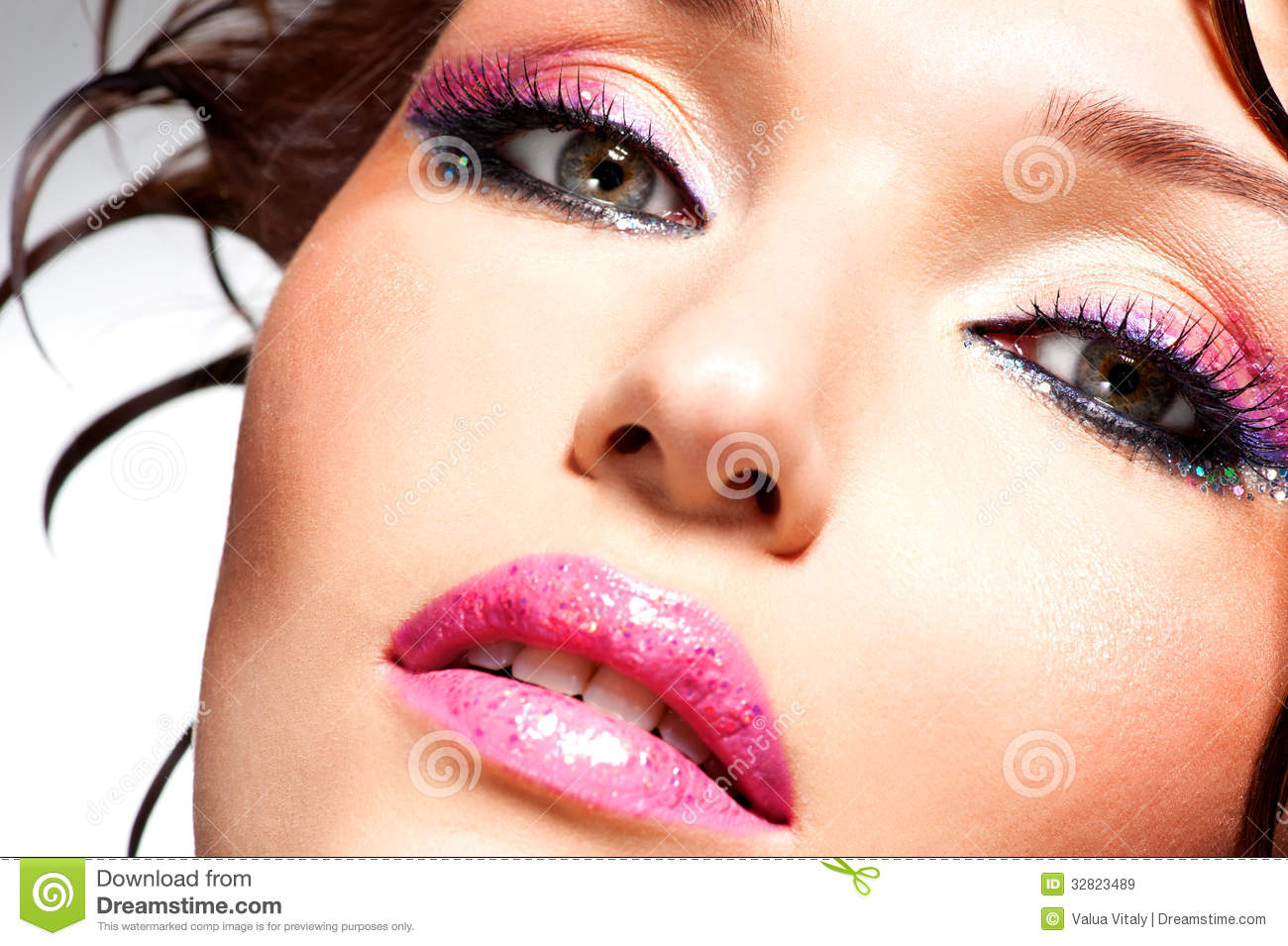 Beautiful Face Of A Woman With Fashion Makeup Stock Image