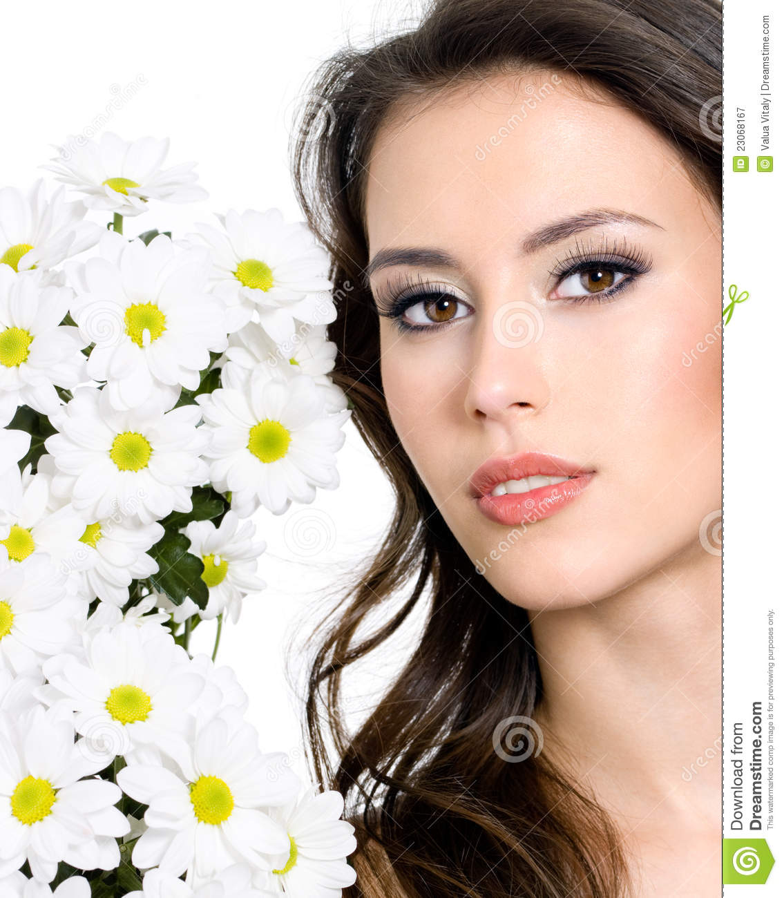 Beautiful face of woman with flowers royalty free stock beautiful face flowers fresh isolated white woman dhlflorist Gallery