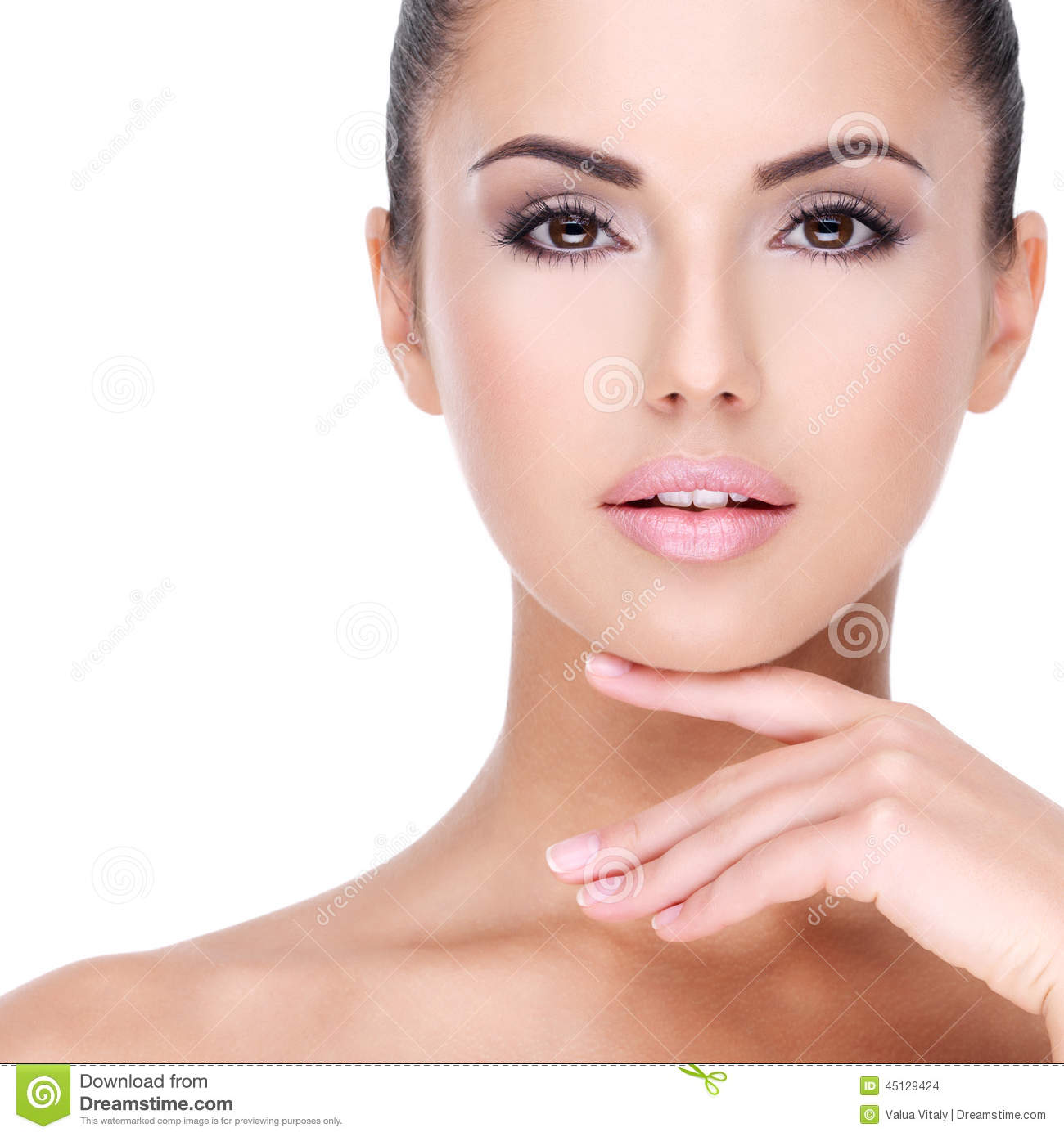 Beautiful Face Of Young Girl With Fresh Healthy Skin