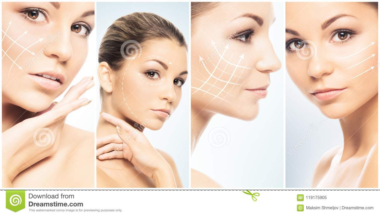 Beautiful face of young and healthy girl in collage collection. Plastic surgery, skin care, cosmetics and face lifting