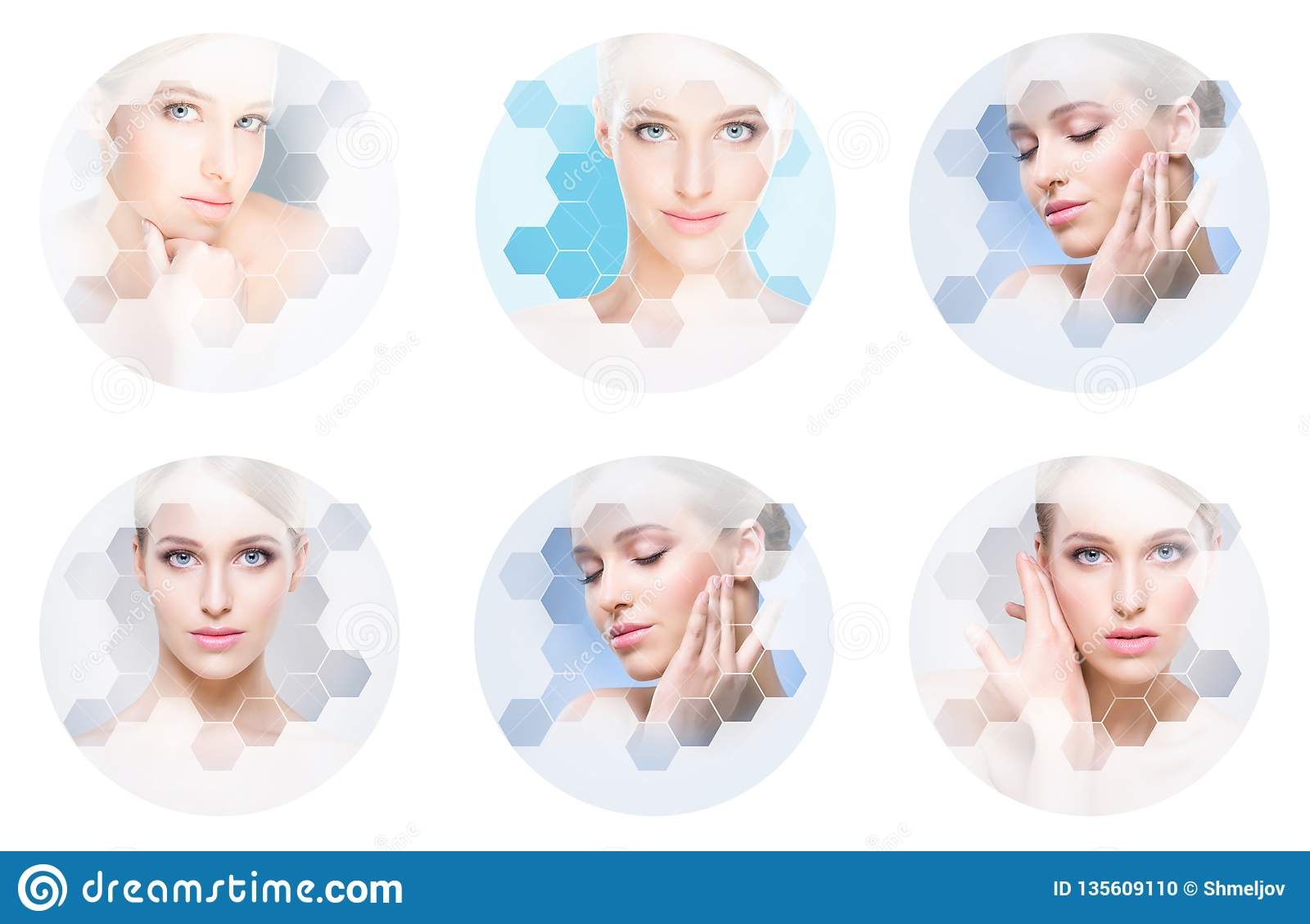 Beautiful face of young and healthy girl in collage. Plastic surgery, skin care, cosmetics and face lifting concept.